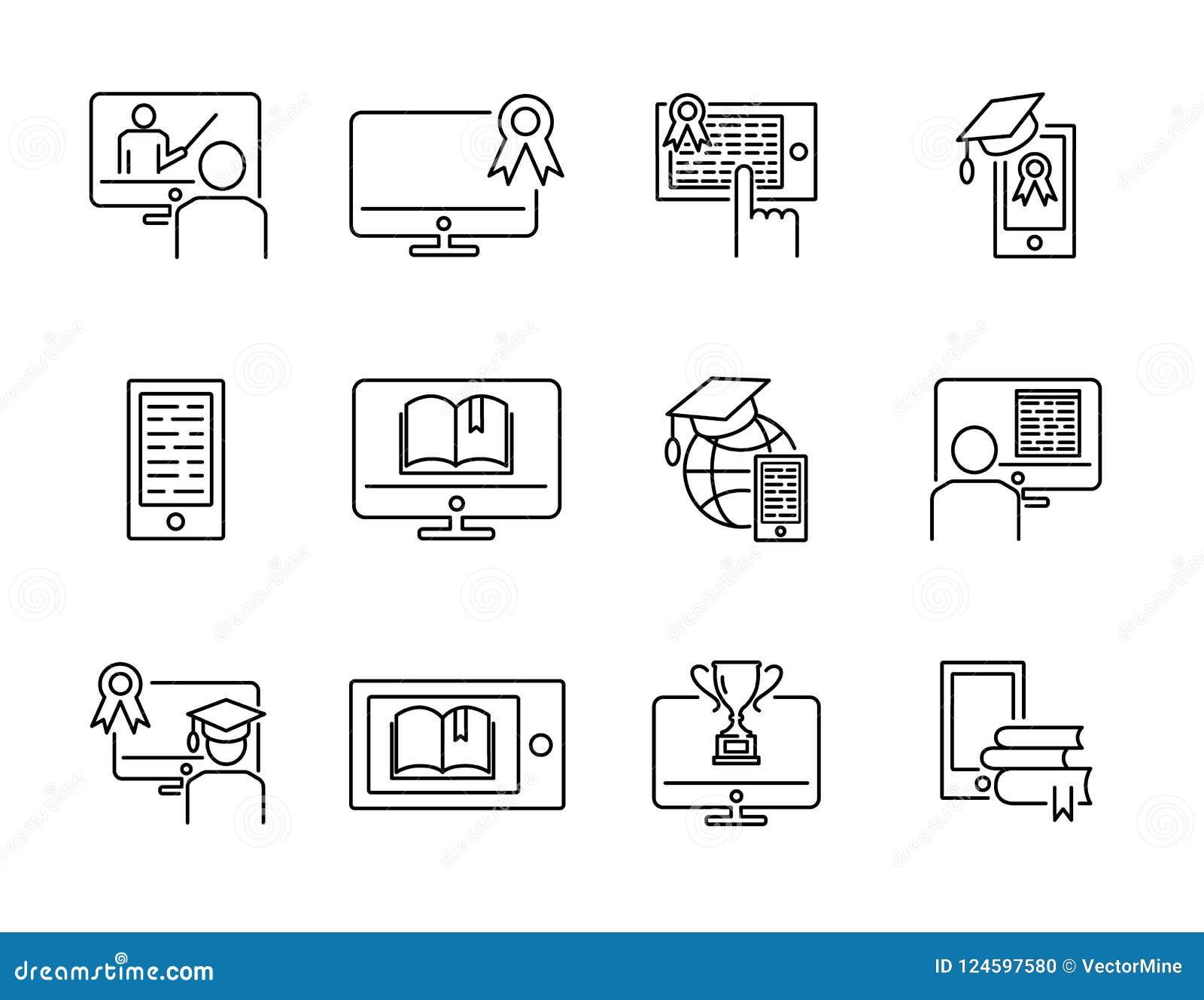 Комплект собрания значка иллюстрации вектора онлайн обучения Дистанцируйте интернет e уча концепцию с компьютером, таблеткой или