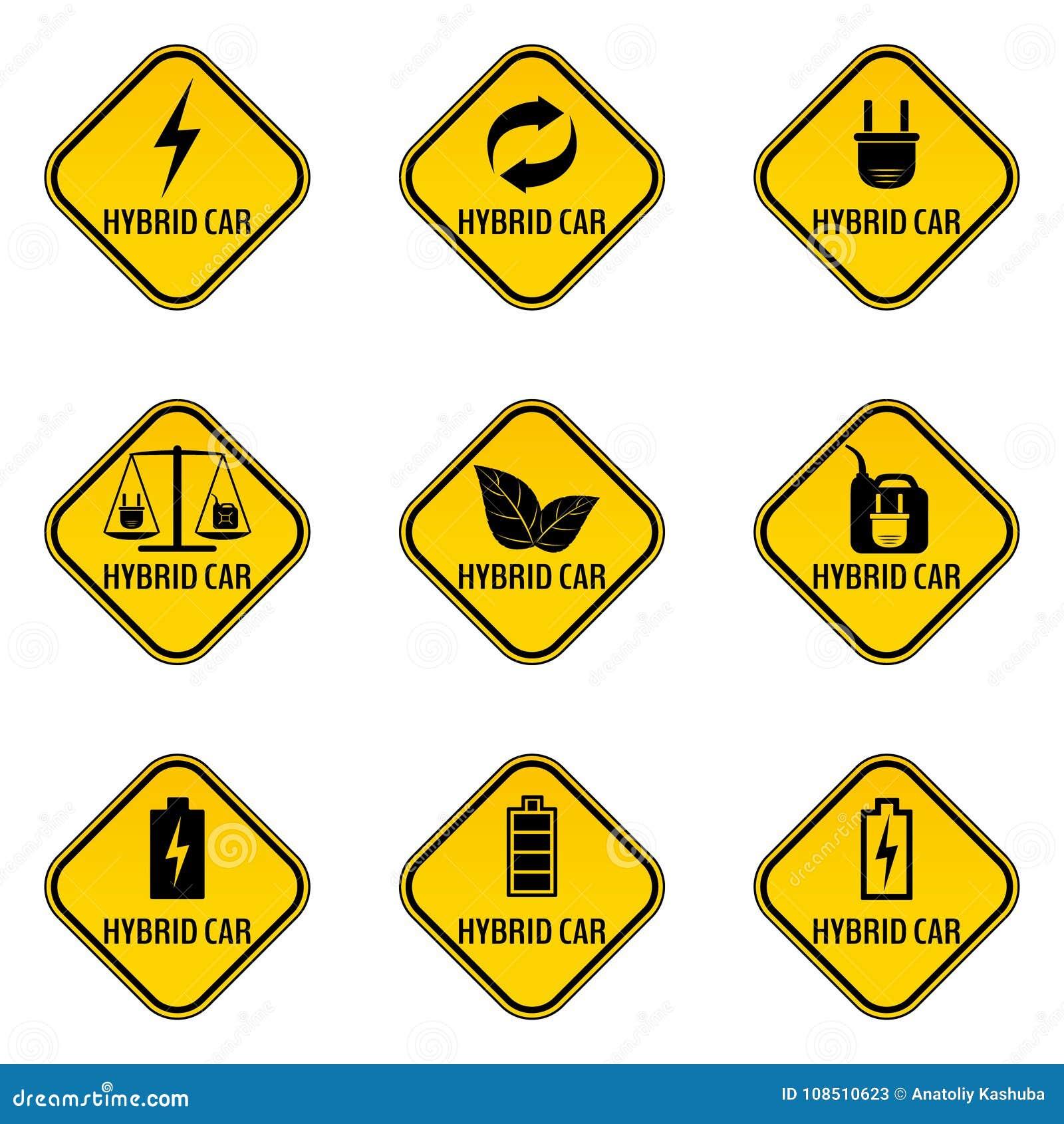 Комплект стикеров предосторежения гибридного автомобиля Сохраньте предупредительные знаки автомобиля энергии