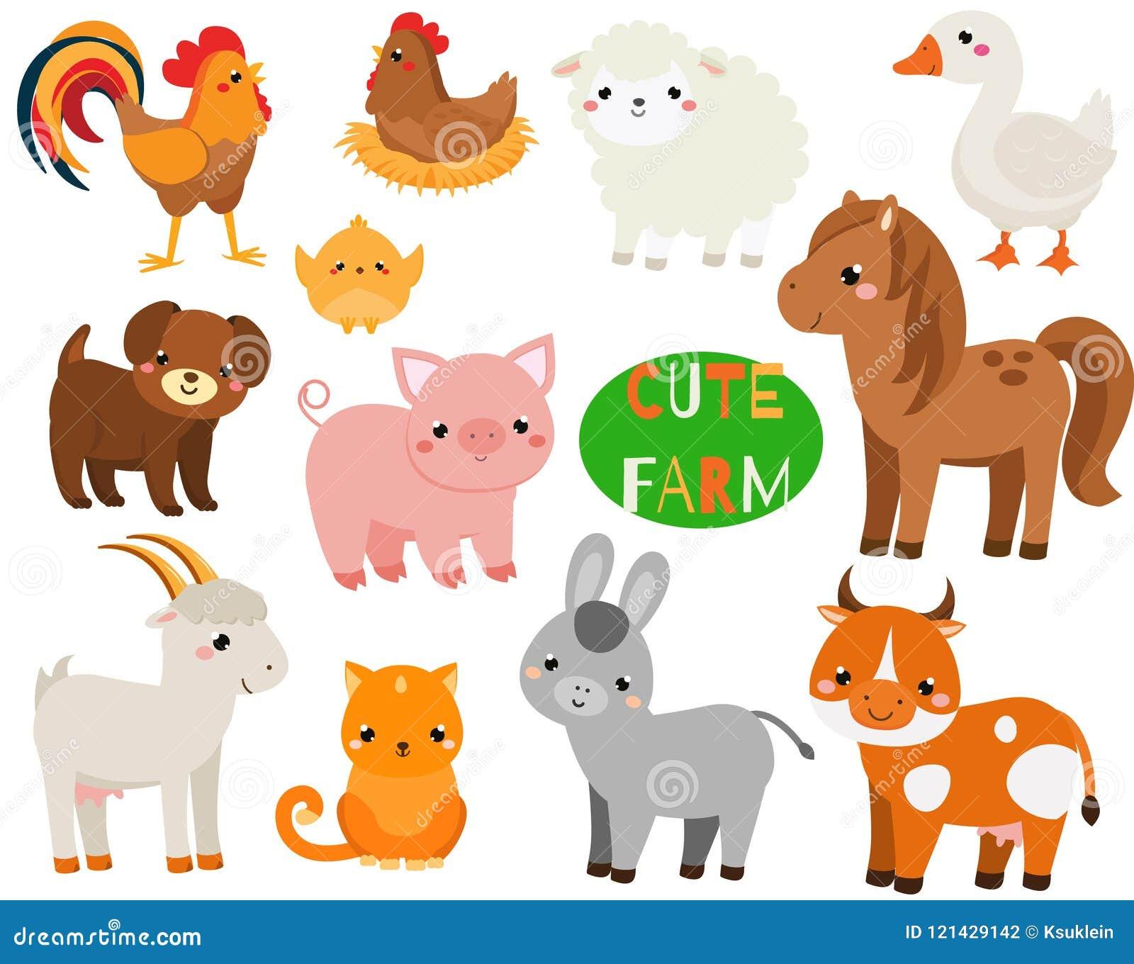комплект фермы шаржа животных милый Свинья, овцы, лошадь и другие отечественные твари для детей и детей