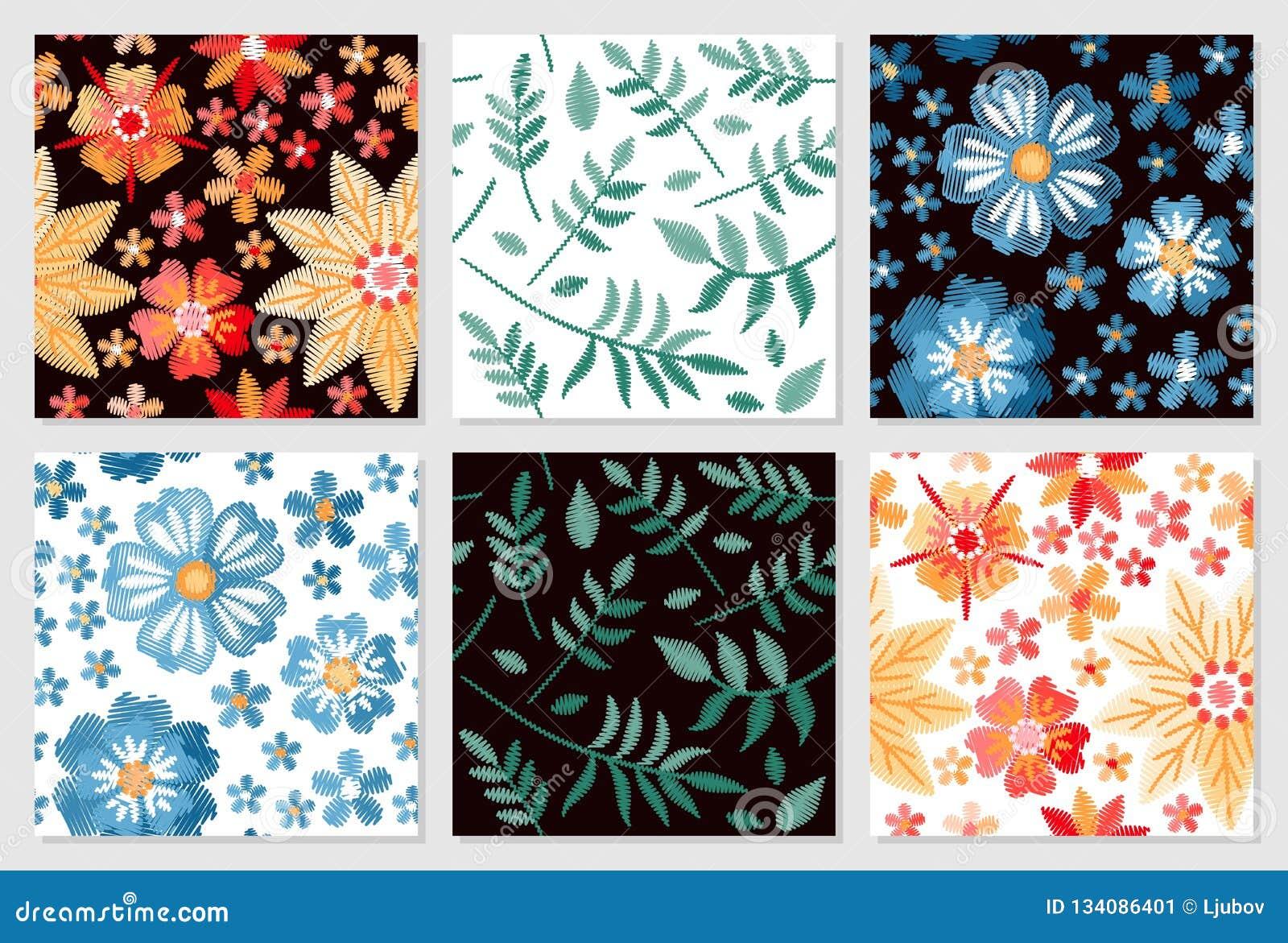 комплект флористических картин безшовный Вышивка цветков и листьев на белой и черной предпосылке