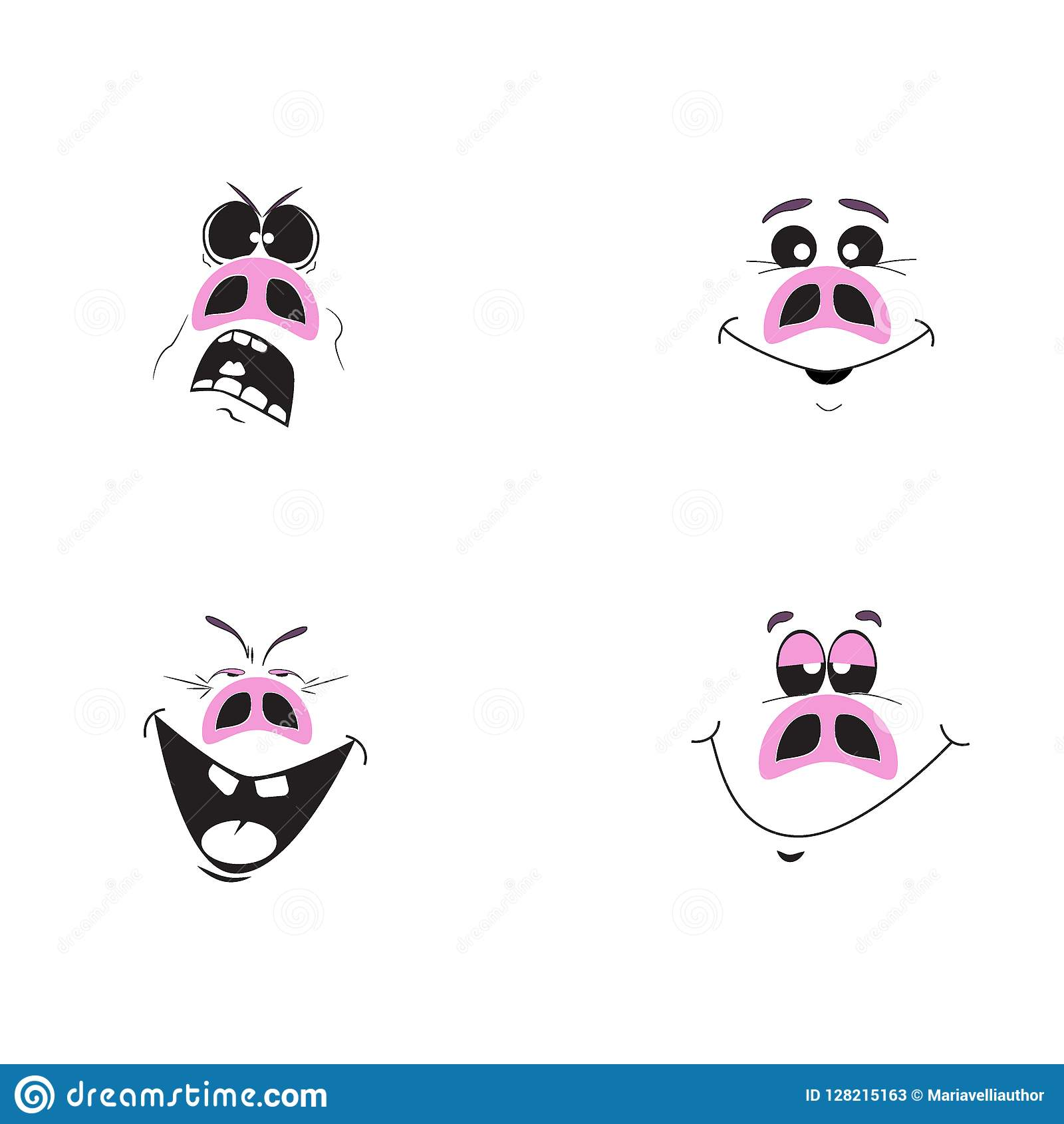 Комплект характеров свиньи милого шаржа эмоциональных розовых