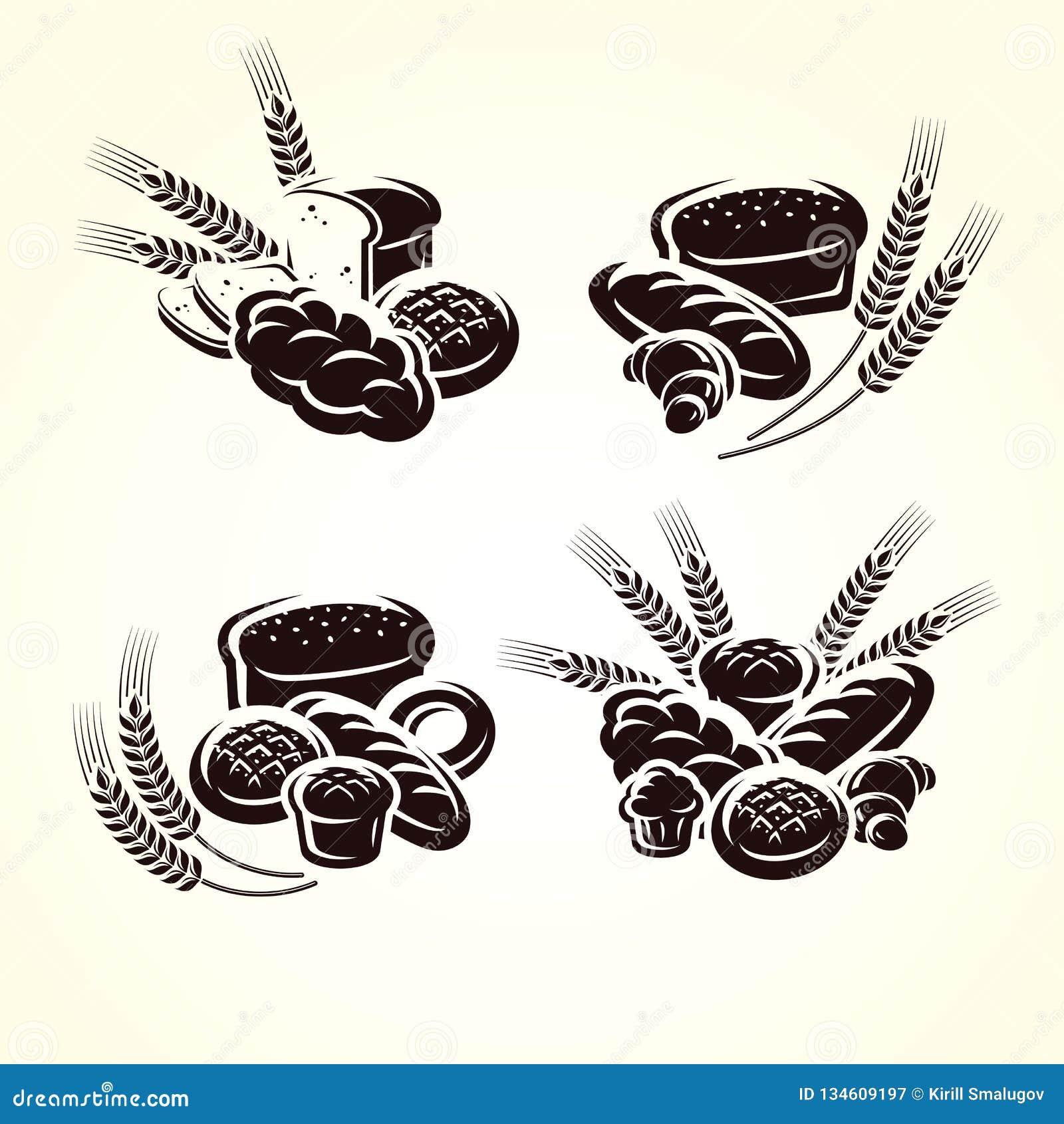 Комплект хлеба вектор