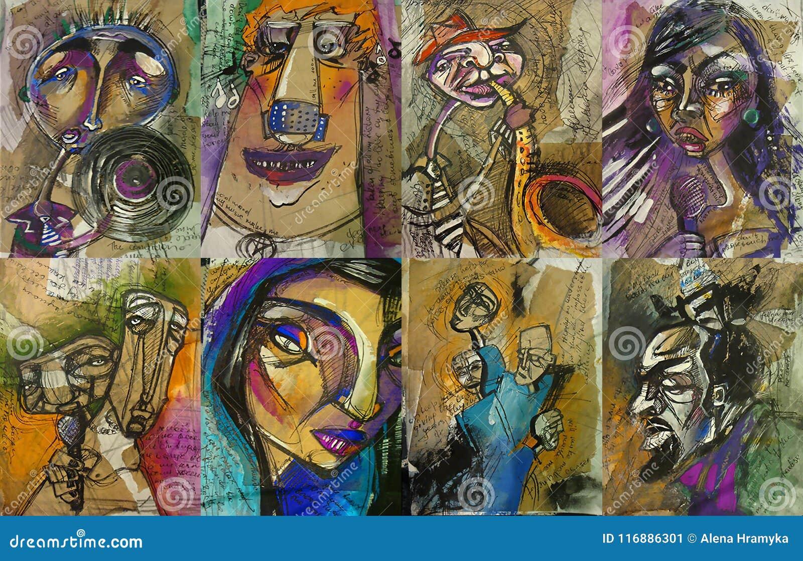 Комплект шаблонов плаката, рогульки или приглашения для целесообразных фестиваля, события или концерта джазовой музыки с мюзикл