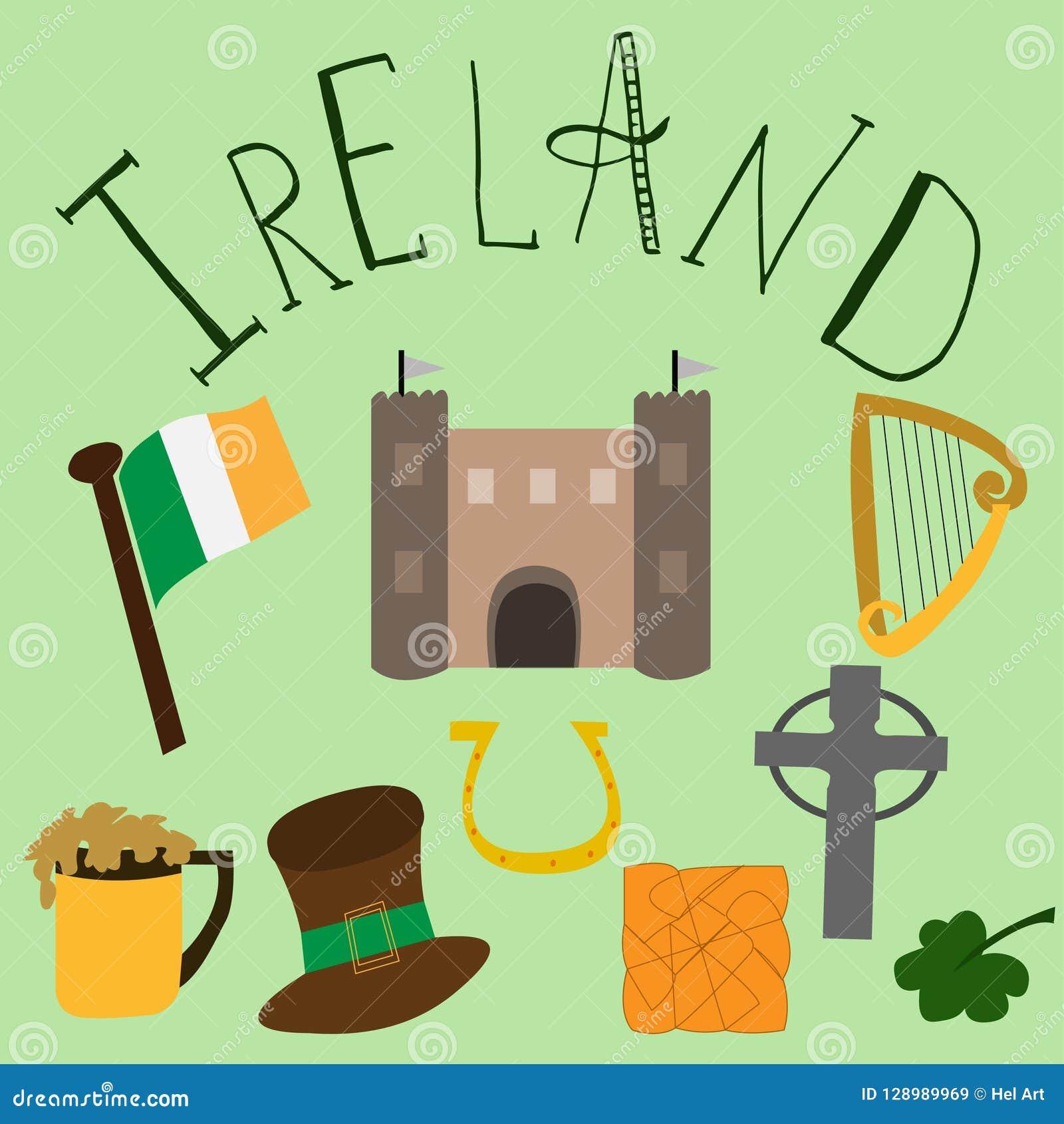 Комплект элементов нарисованных рукой ирландских и letering
