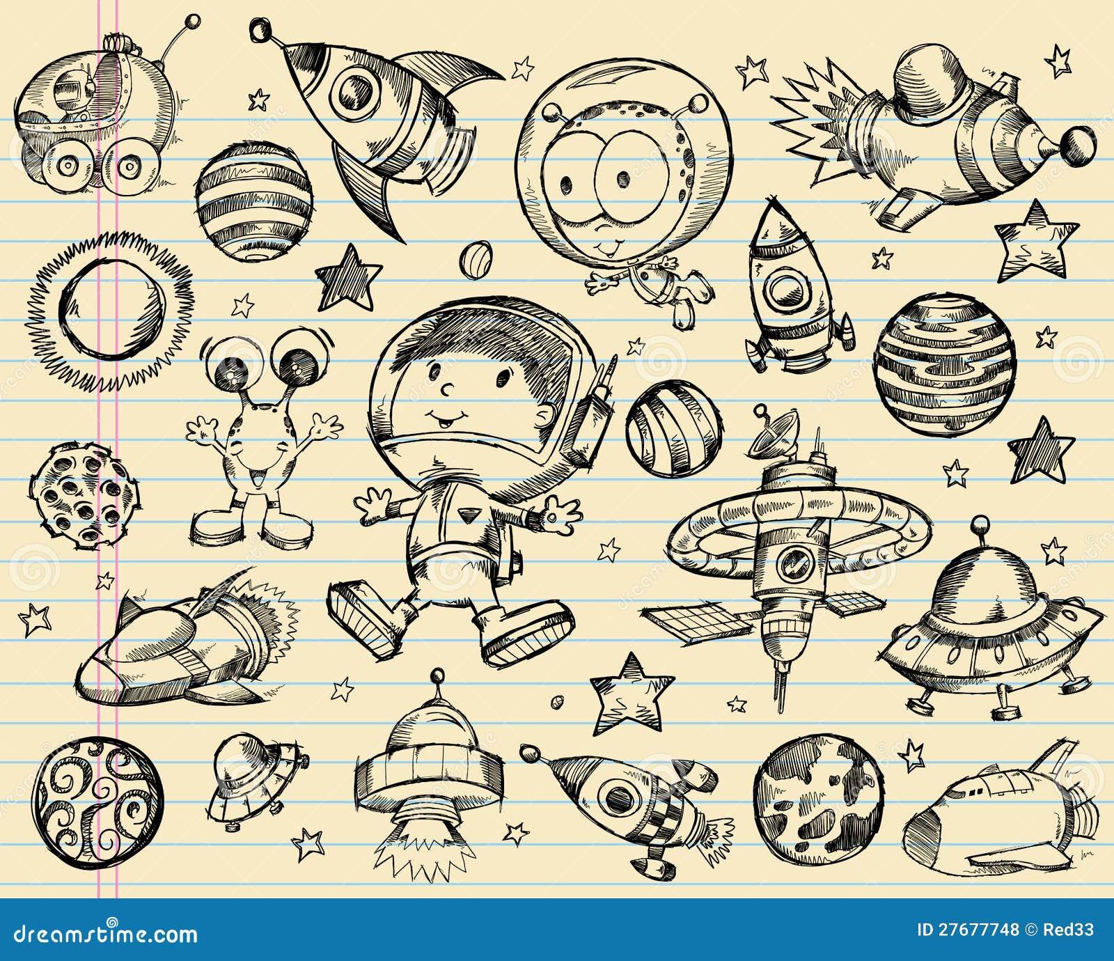 Комплект эскиза Doodle космического пространства