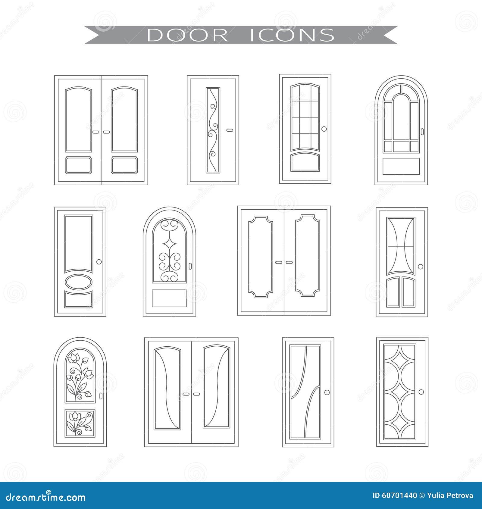 комплект 12 межкомнатных дверей иллюстрация вектора иллюстрации