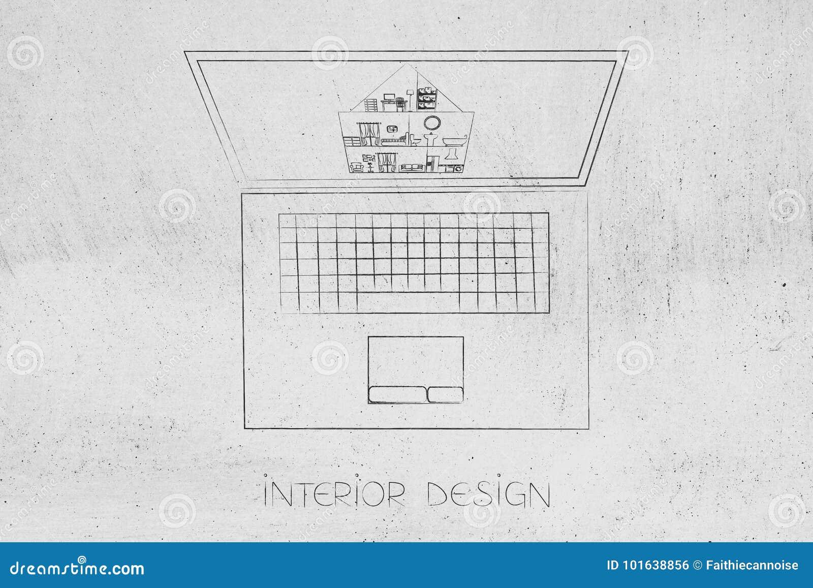 Компьтер-книжка дизайна интерьера с проектом дома на экране