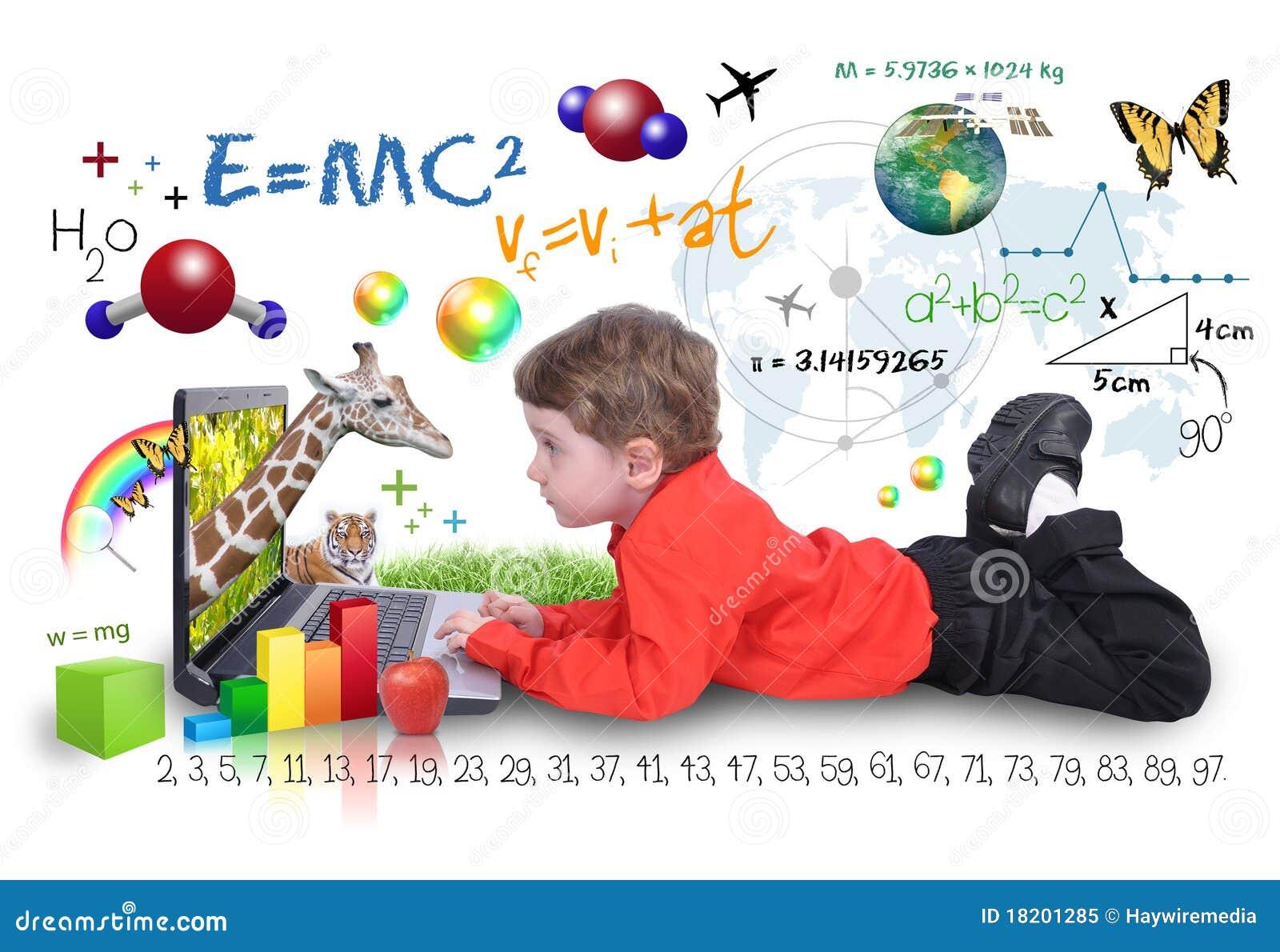 компьтер-книжка интернета мальчика учя инструменты