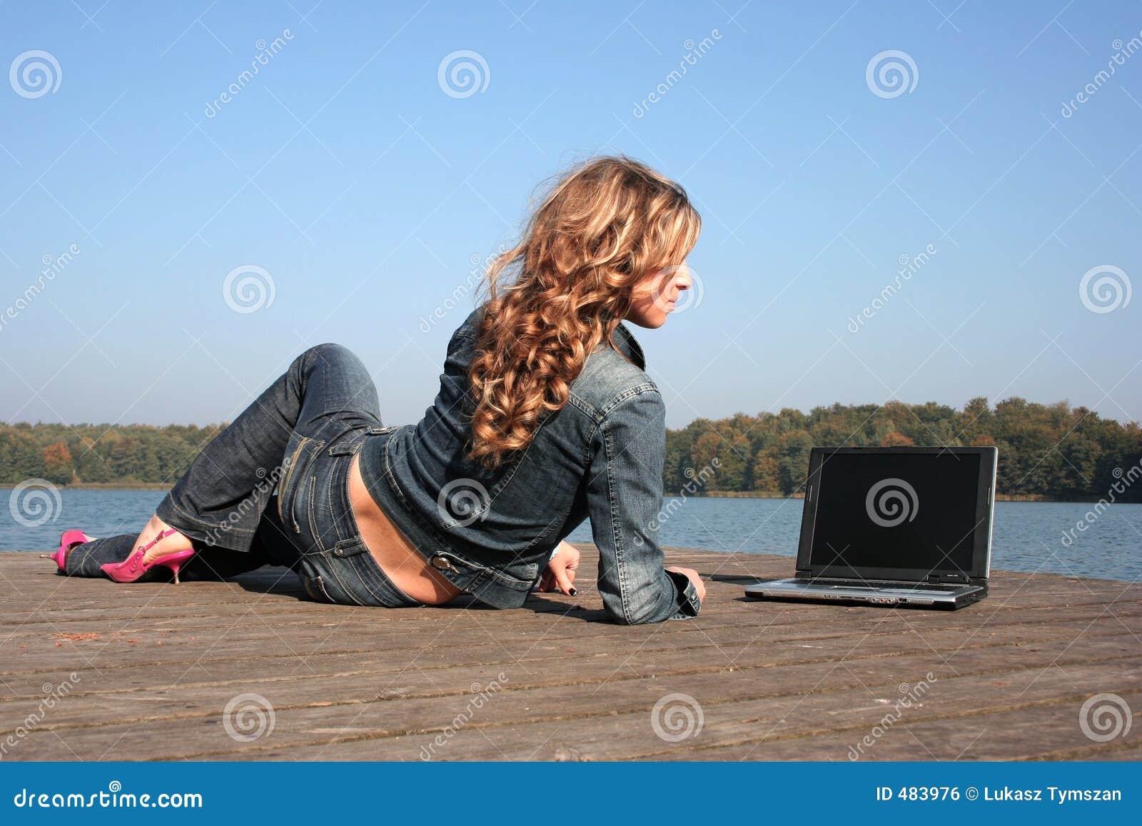 компьтер-книжка озера используя женщину
