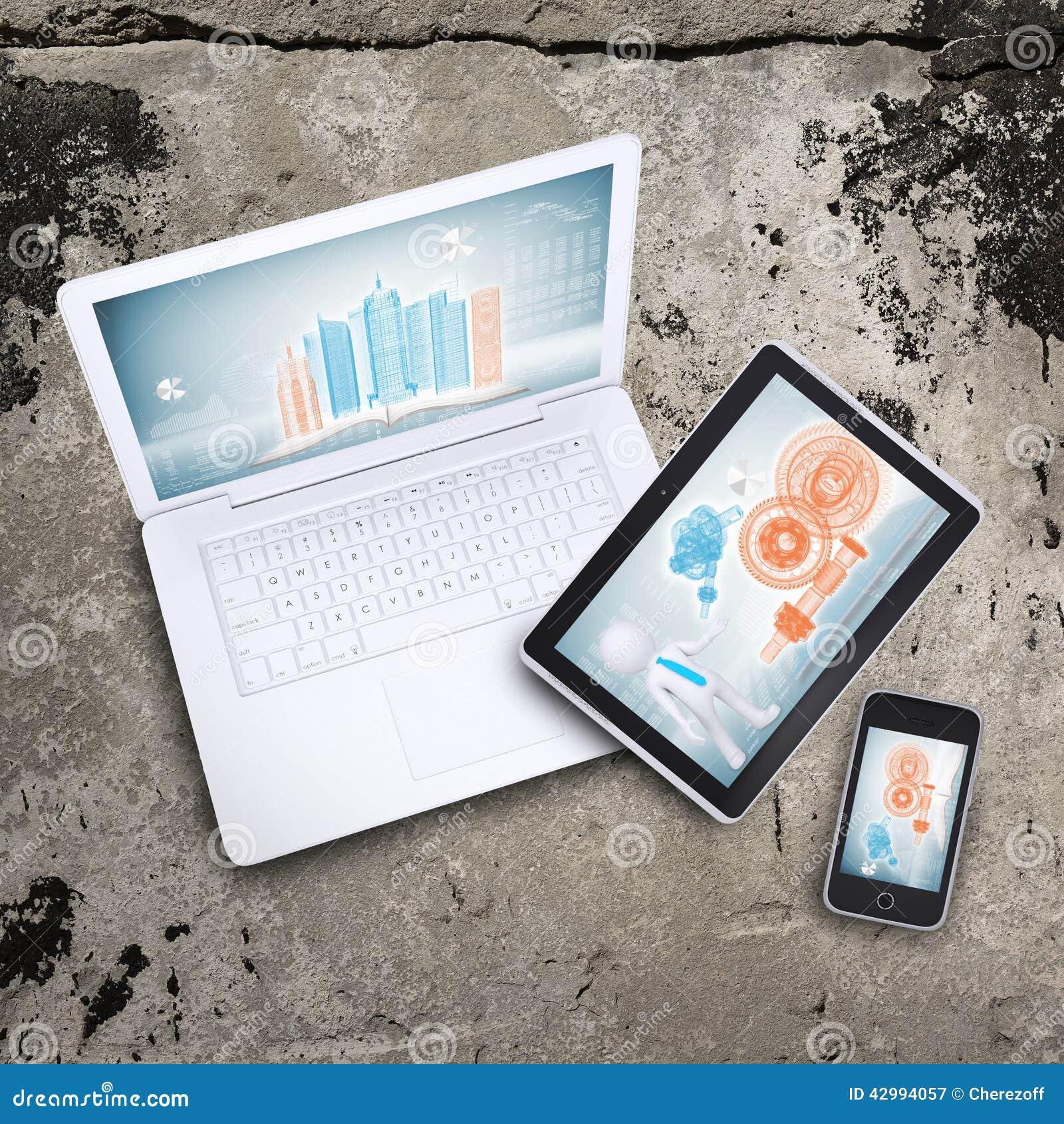 Компьтер-книжка, ПК таблетки и умный телефон