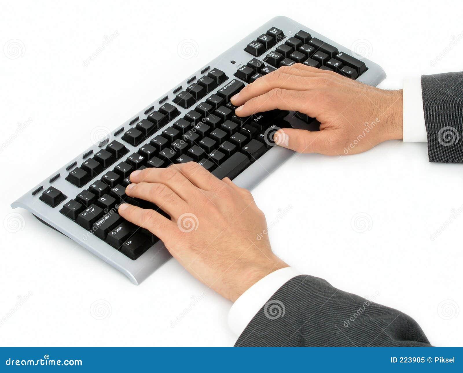 компьютер бизнесмена вручает клавиатуру s