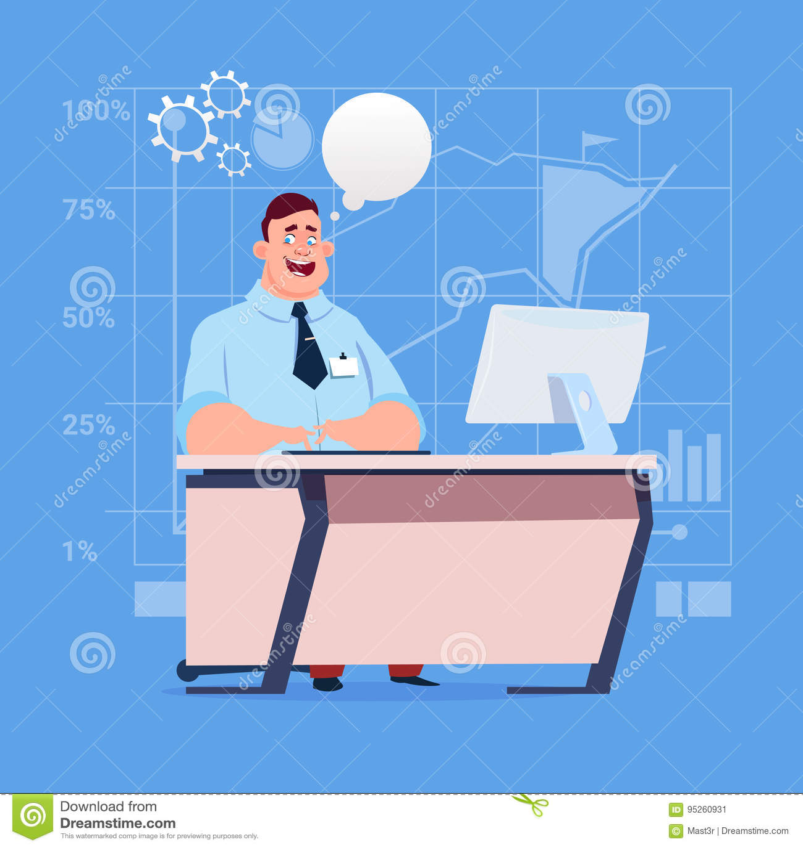 Компьютер стола бизнесмена сидя работая с пузырем болтовни