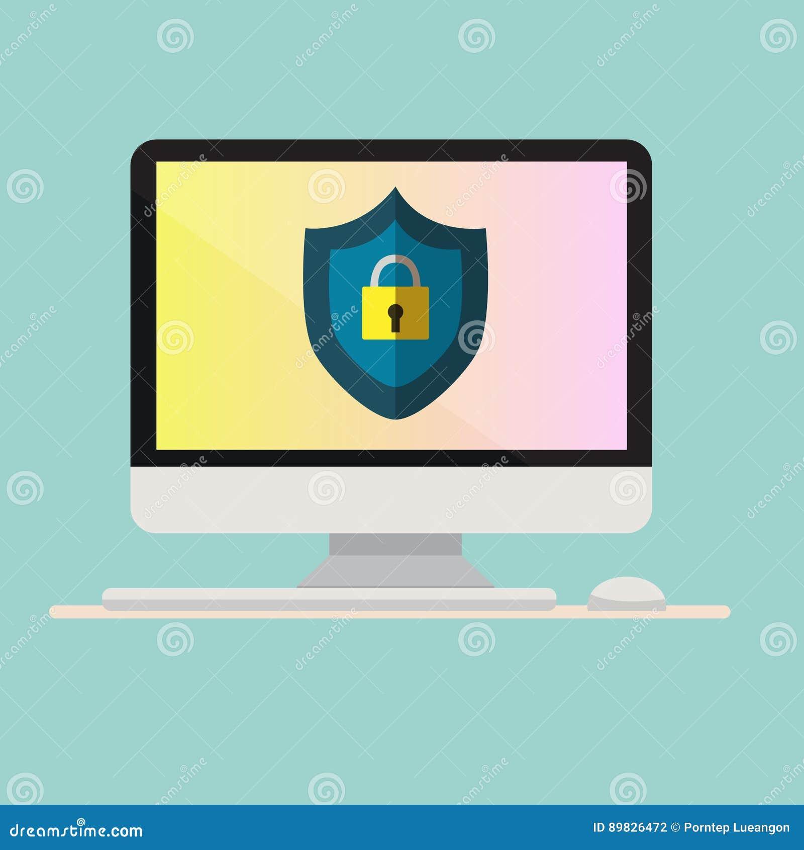 Компьютер с значком защиты на экране Компьютер с клавиатурой и мышью Концепция безопасностью онлайн также вектор иллюстрации прит