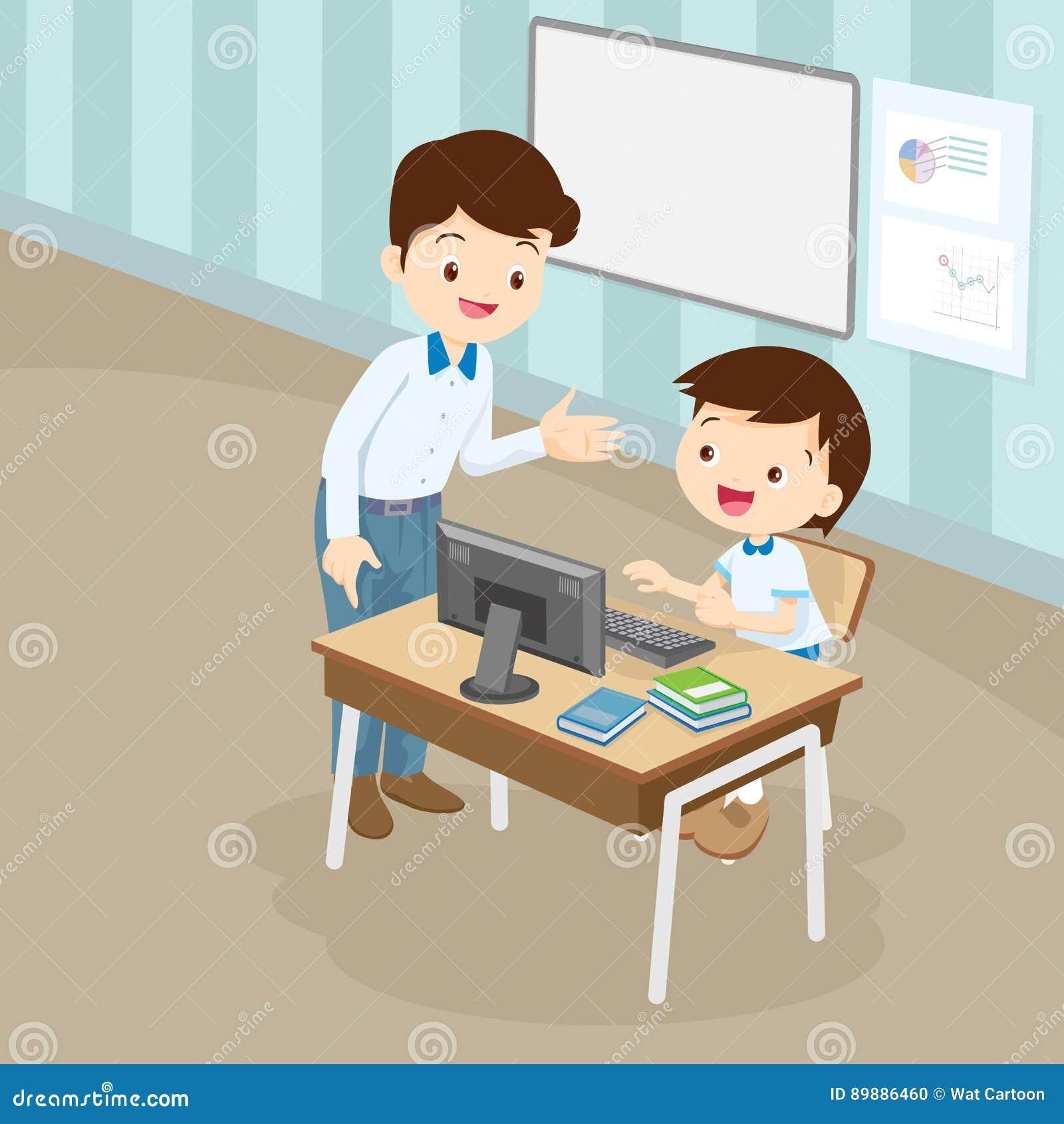 Компьютер учителя уча к мальчику студента