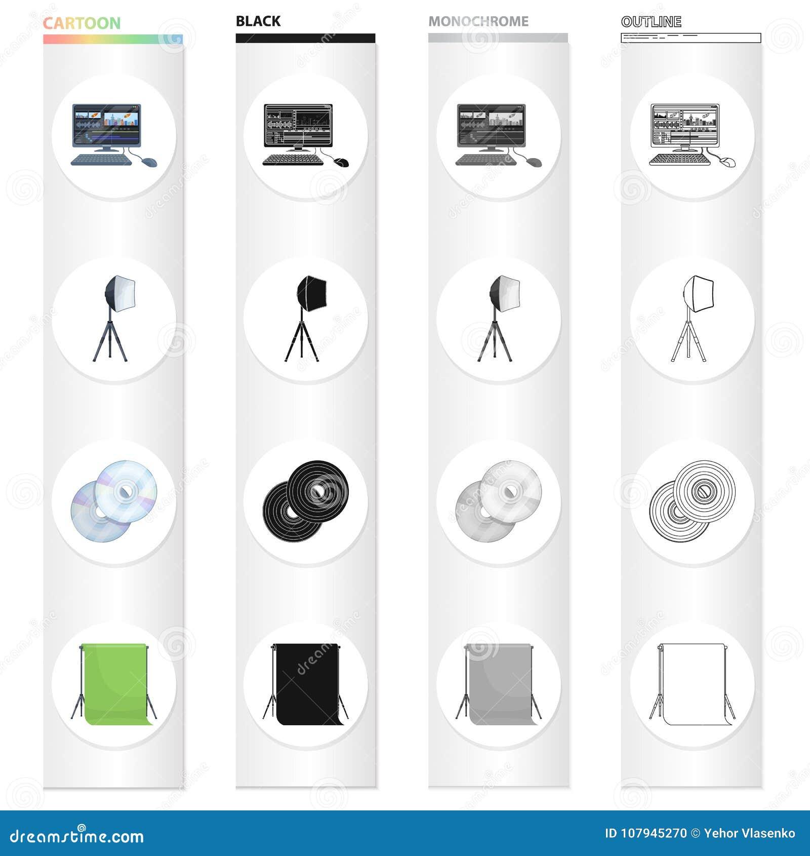Компьютер, экран, клавиатура, и другой значок сети в стиле шаржа Кинемотография, кино, драма, значки в собрании комплекта