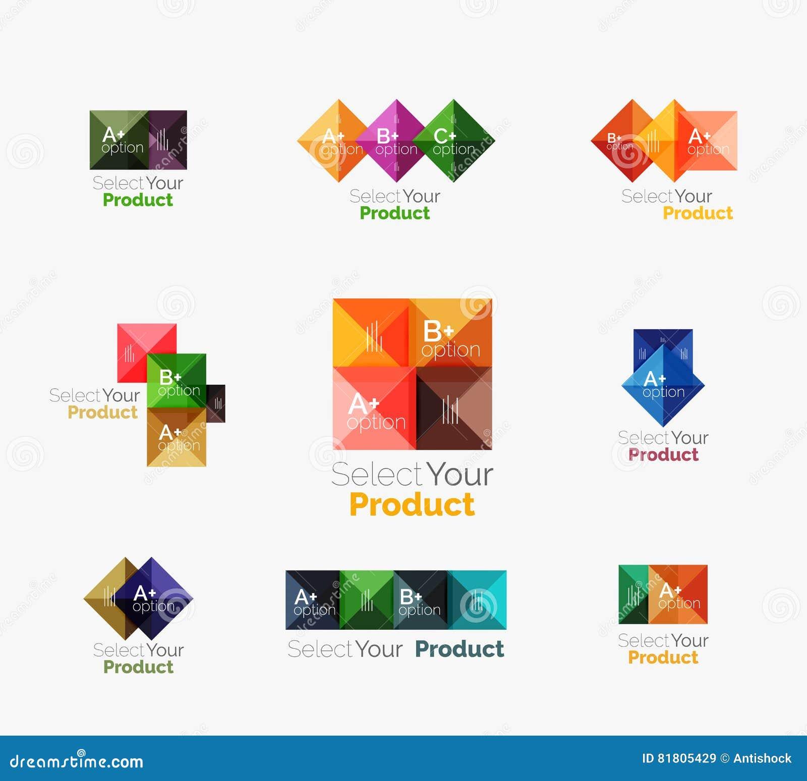 Комплект абстрактной квадратной кнопки навигации меню интерфейса