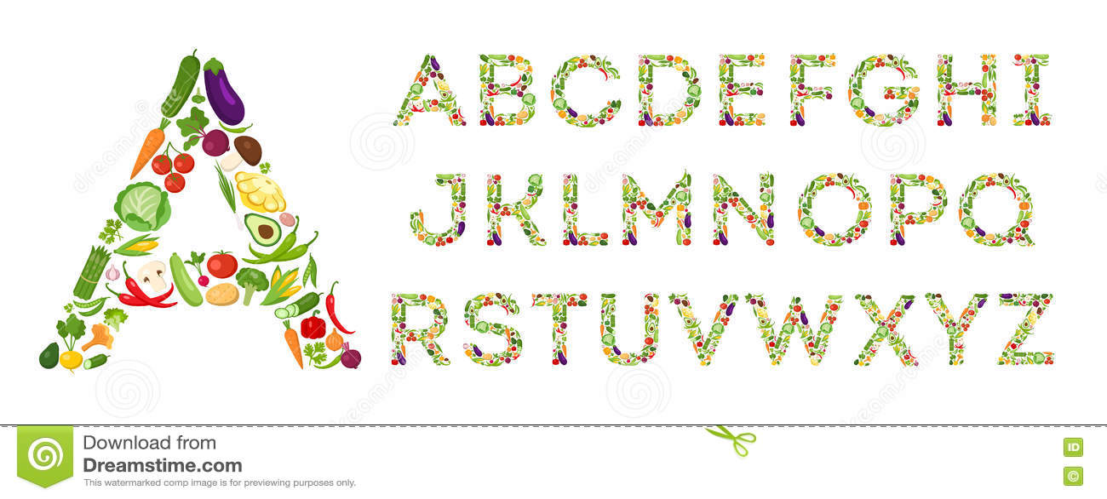 Комплект алфавита овощей