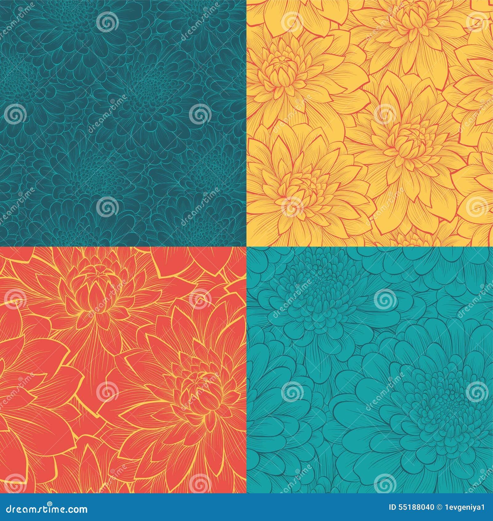 Комплект безшовной картины с цветками Нарисованные вручную линии контура и ходы