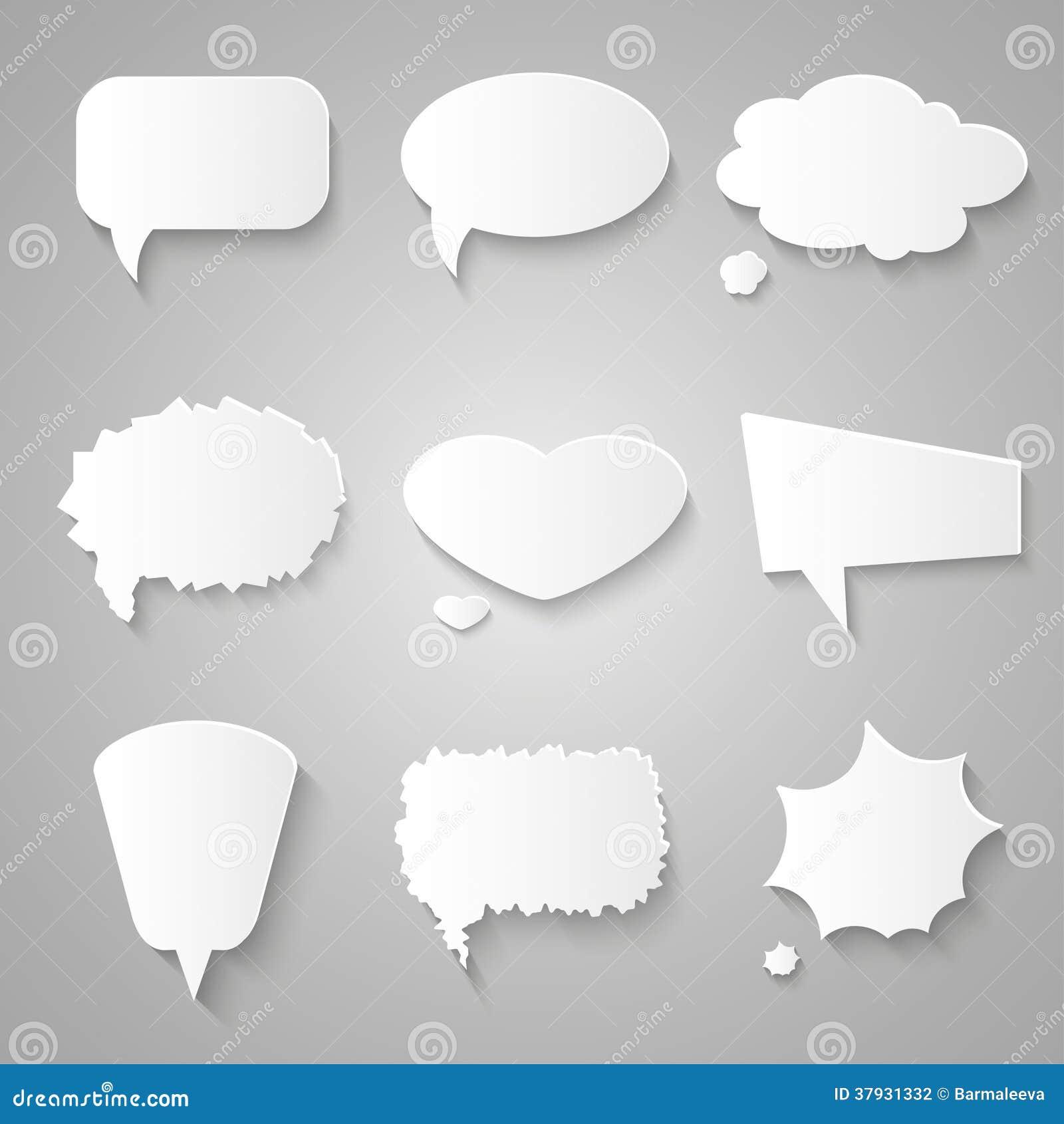 Комплект бумажных пузырей речи с тенями