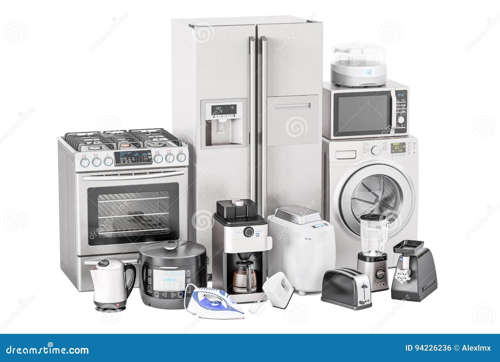 Комплект бытовых устройств кухни Тостер, стиральная машина, холодильник