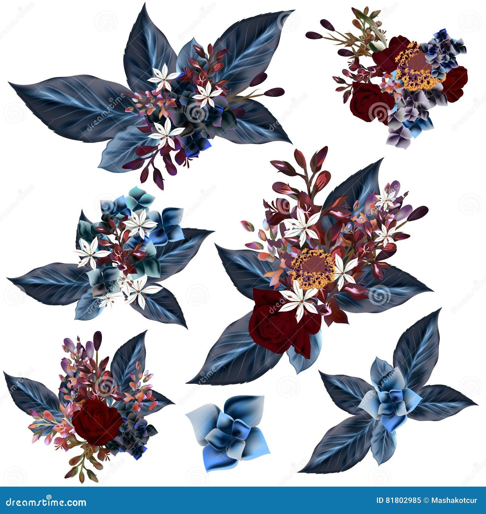 Комплект вектора детализировал цветки с голубыми листьями