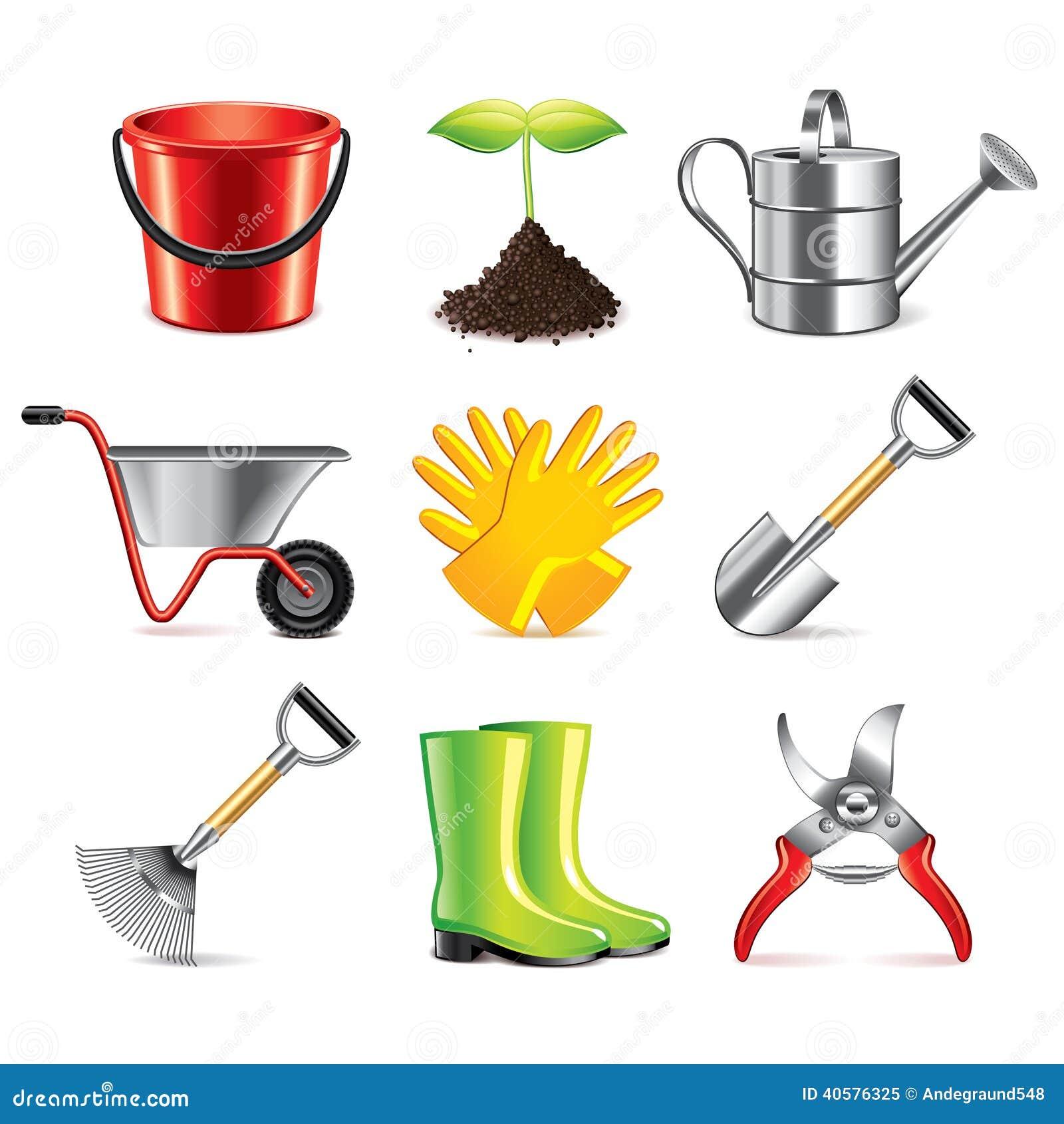 Комплект вектора значков садовничая инструментов