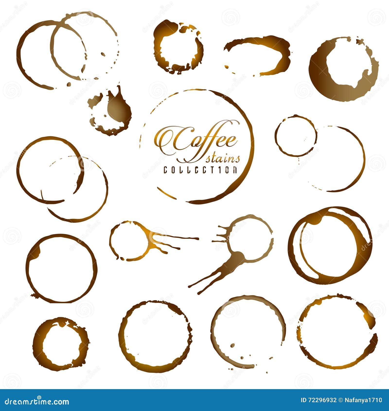 Download Комплект вектора изолированного кольца пятна кофе Иллюстрация штока - иллюстрации насчитывающей влажно, чашка: 72296932