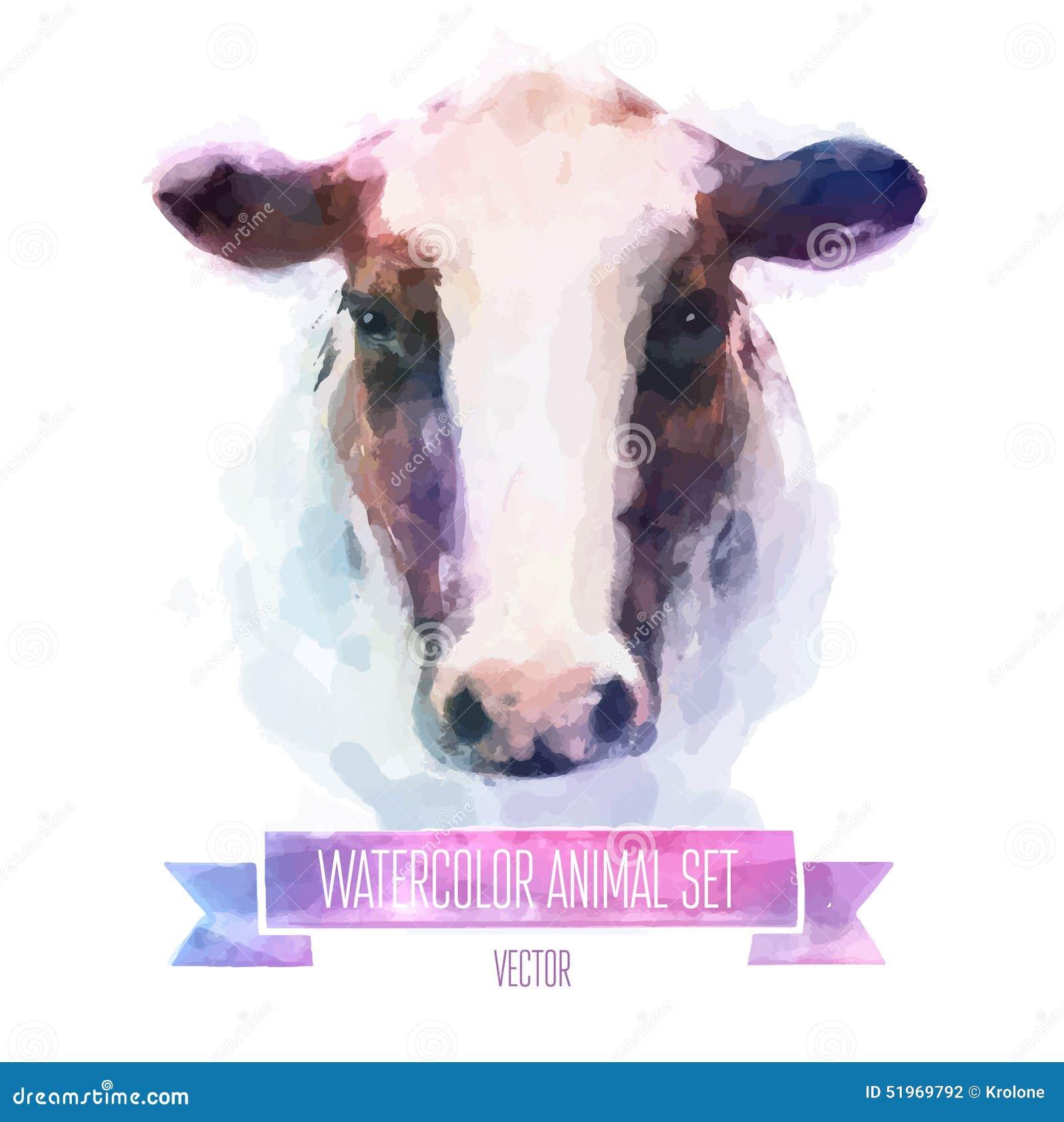 Комплект вектора иллюстраций акварели корова милая