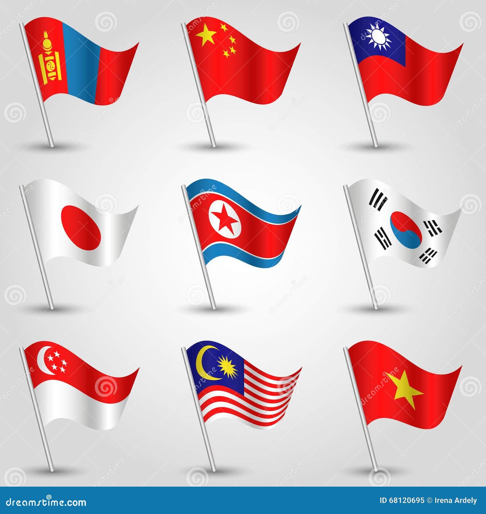 Комплект вектора 9 положений флагов Восточной Азии