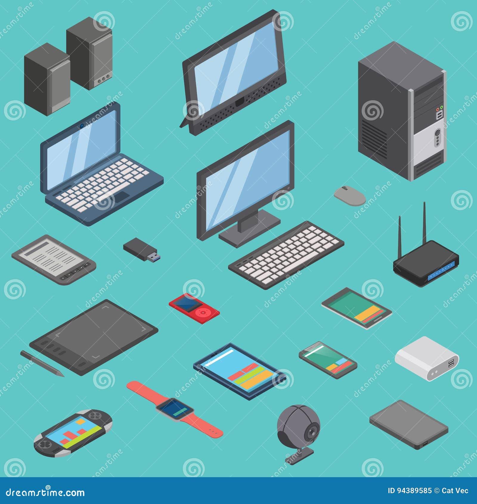 Комплект вектора равновеликой иллюстрации мобильной телефонной связи 3d беспроводных технологий значков приборов устройства компь