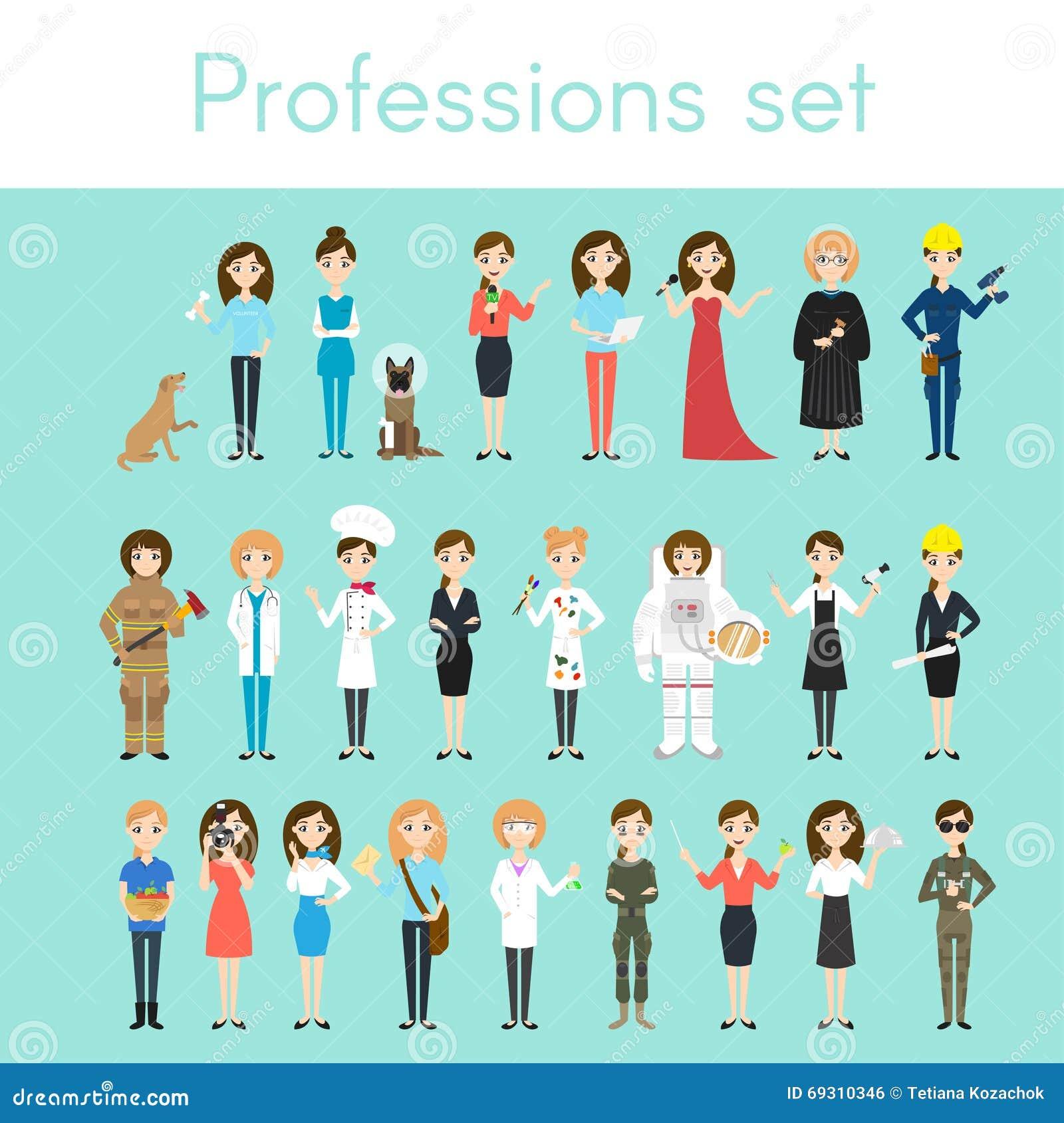 Комплект вектора различных красочных профессий женщины