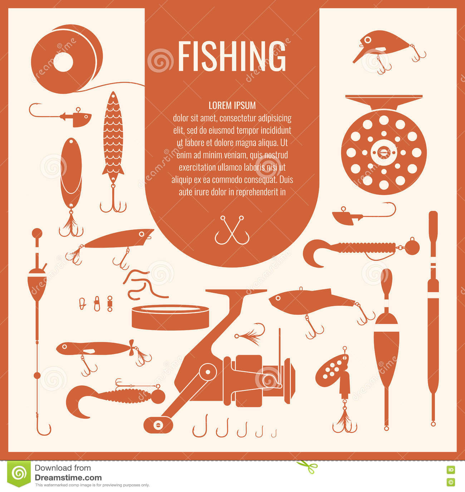 Download Комплект вектора рыболовных снастей в плоском стиле силуэта Иллюстрация вектора - иллюстрации насчитывающей прикорм, завлекать: 72286766