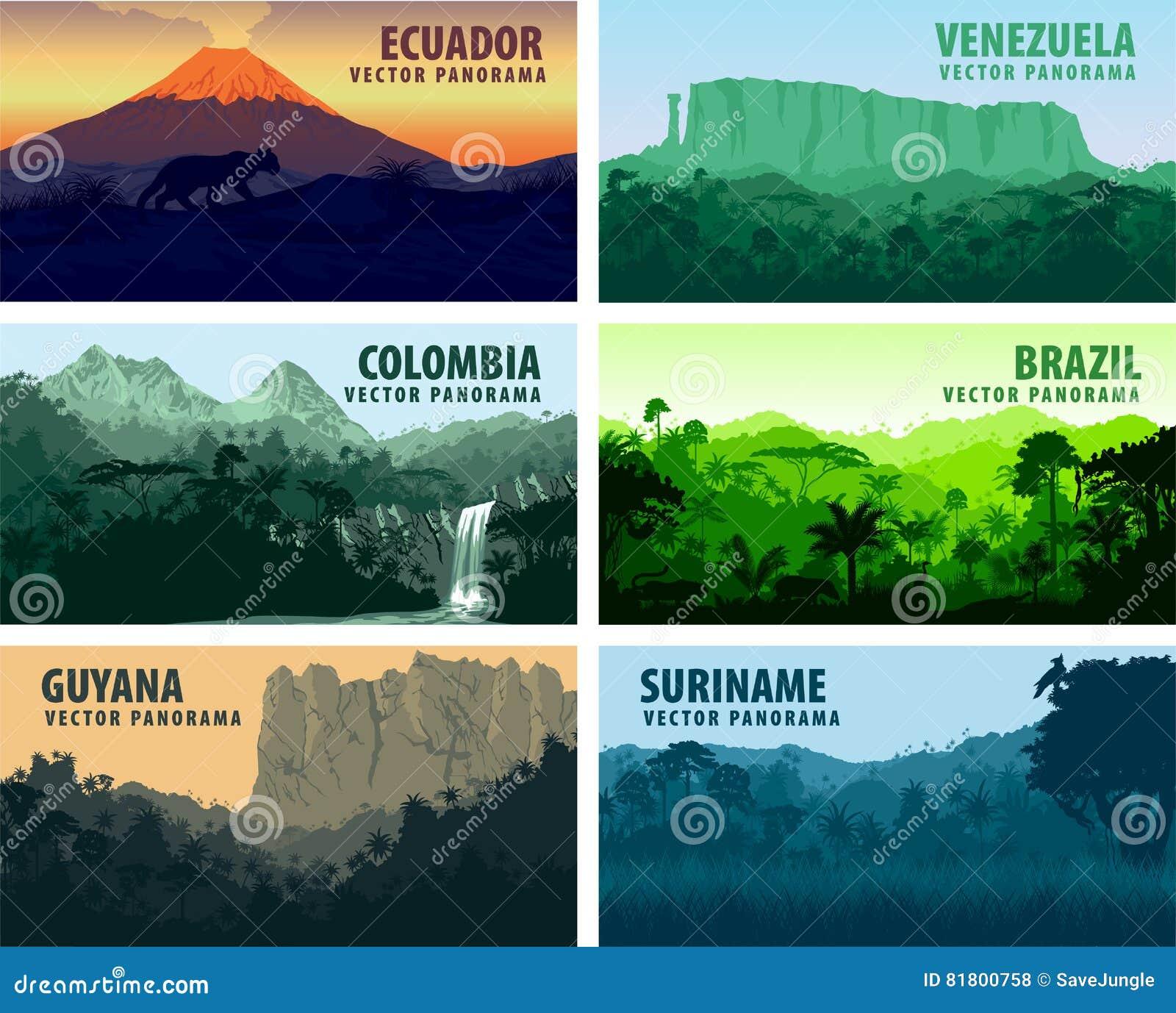 Комплект вектора стран Южной Америки panorams