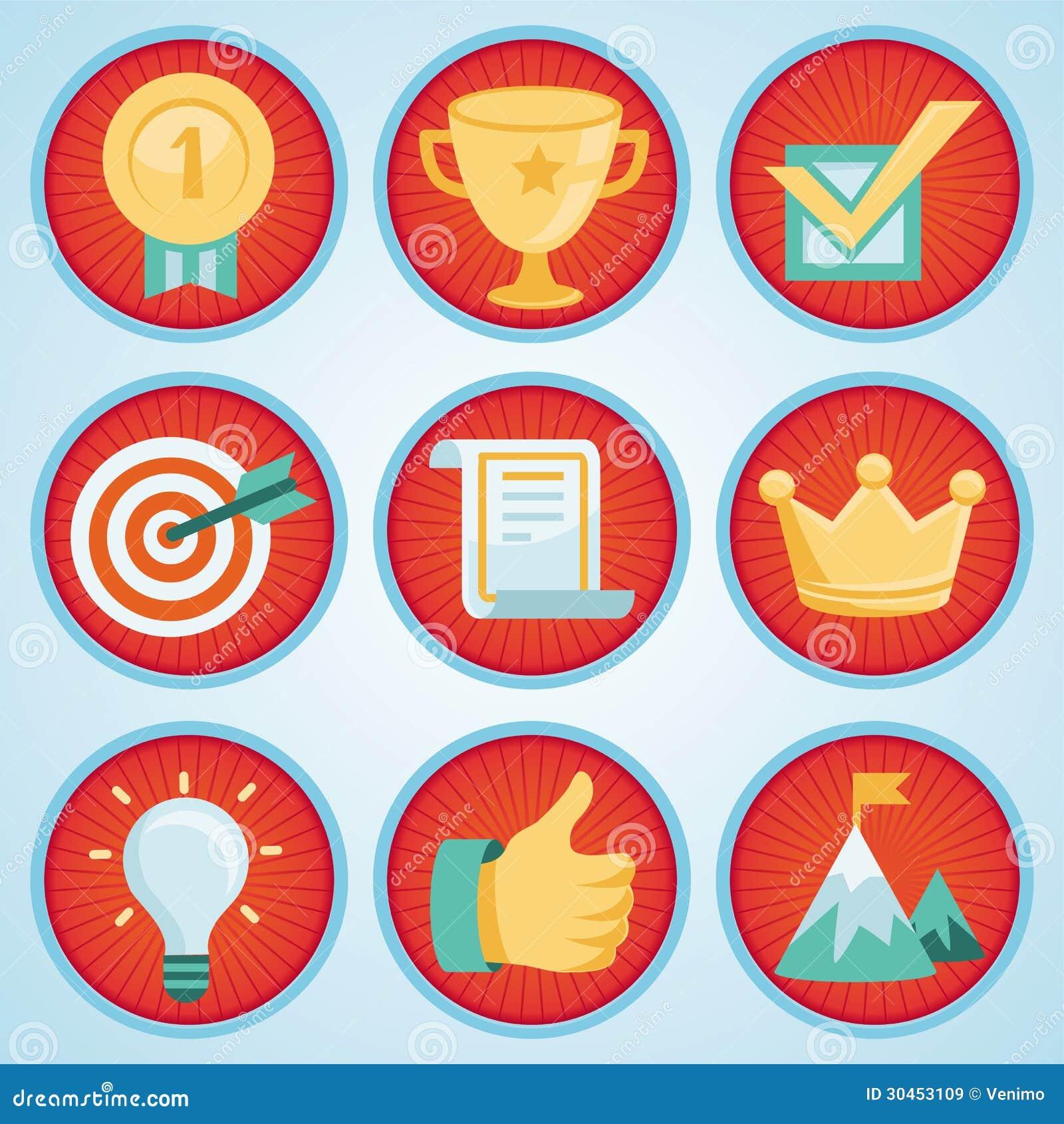Комплект вектора с значками достижения и наград