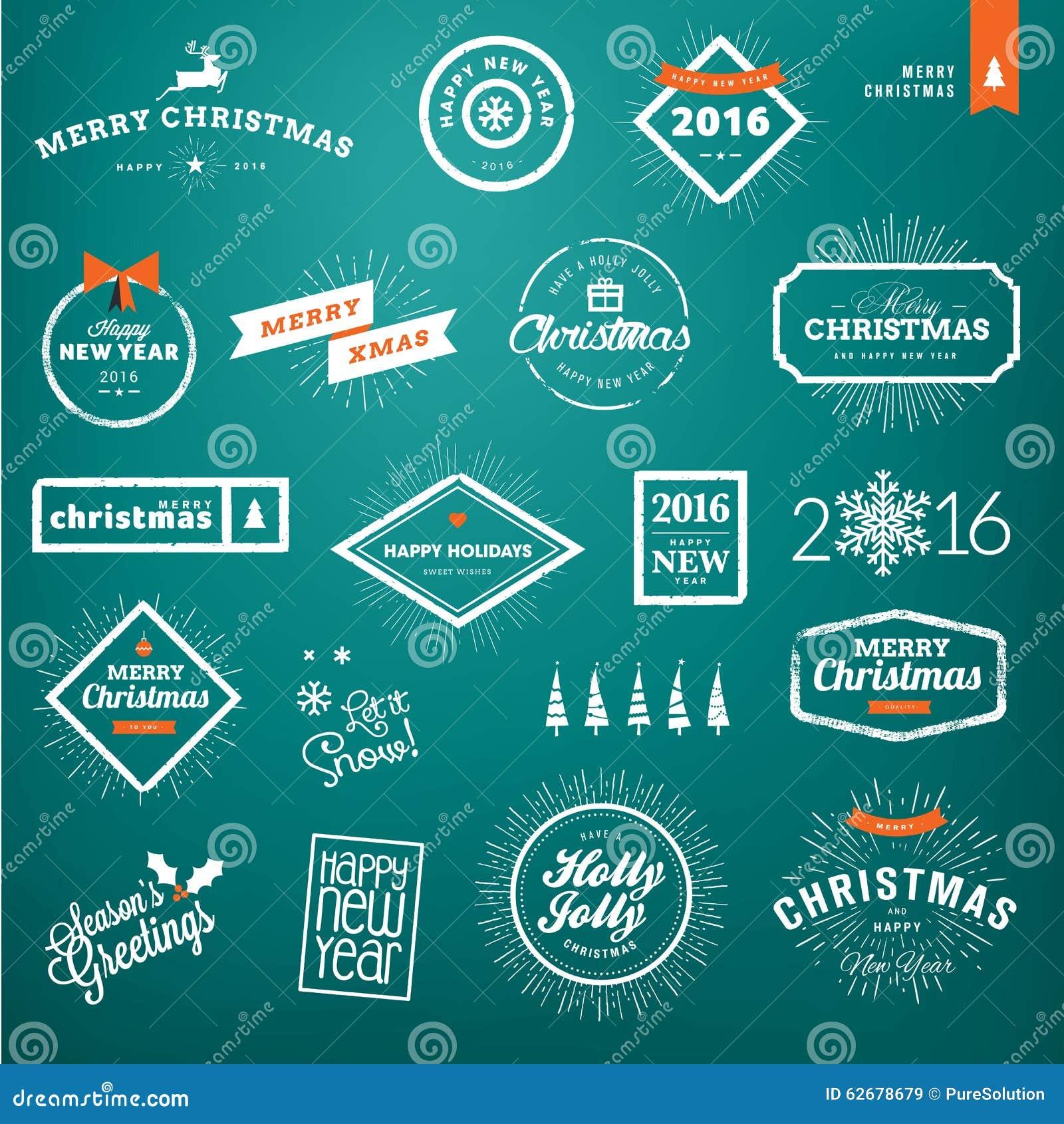 Комплект винтажного рождества и ярлыков и значков Нового Года
