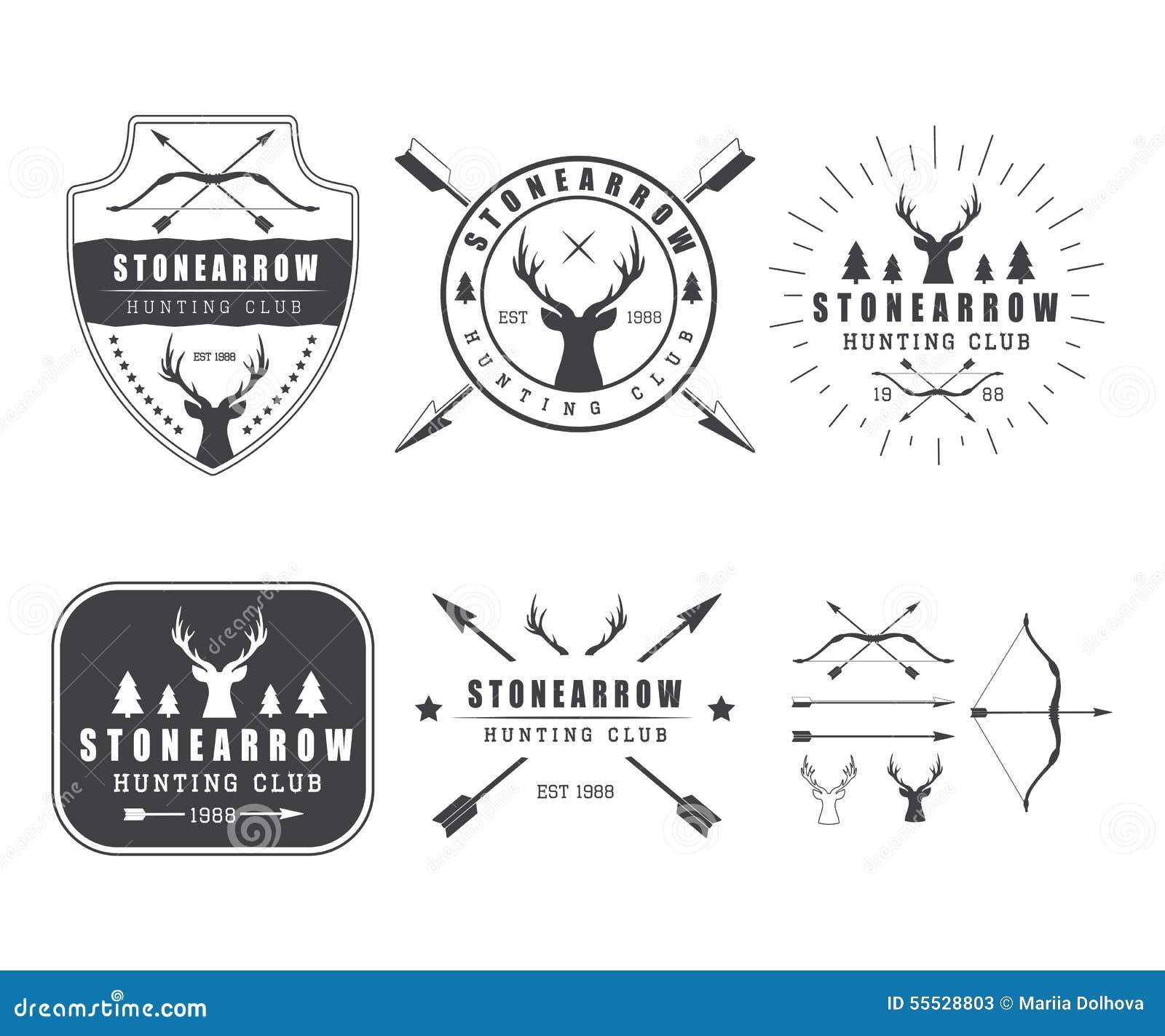 Комплект винтажных элементов ярлыков, логотипа, значка и дизайна звероловства