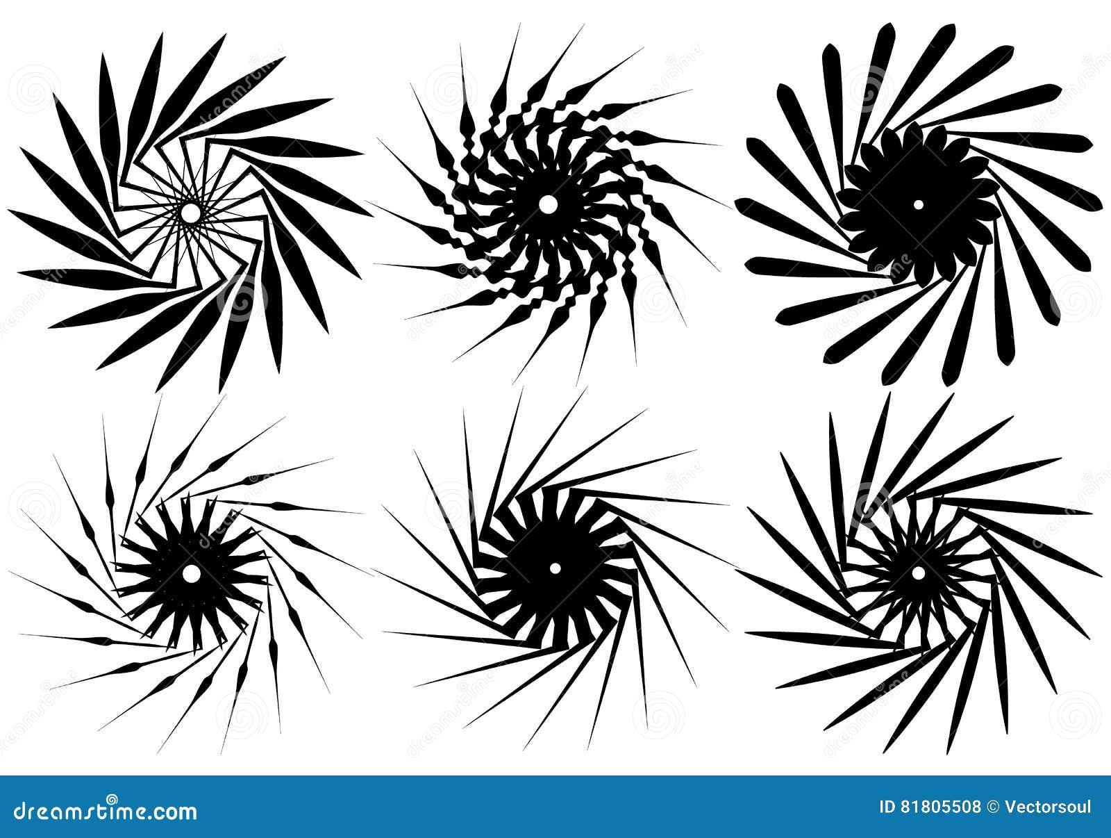 Комплект геометрического элемента 6 циркуляров Абстрактные формы геометрии