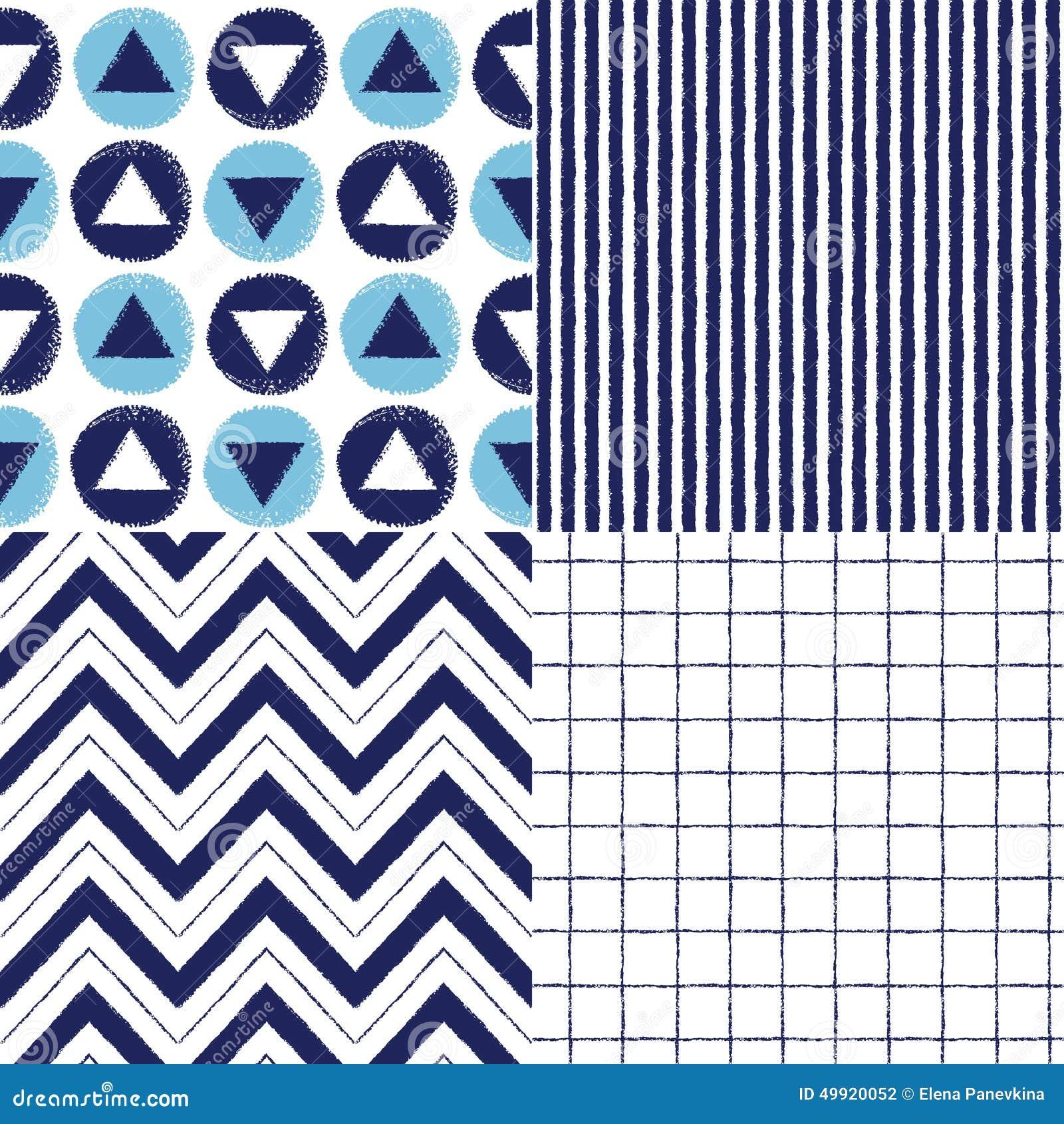 Комплект геометрической нарисованных щеткой картин вектора безшовных