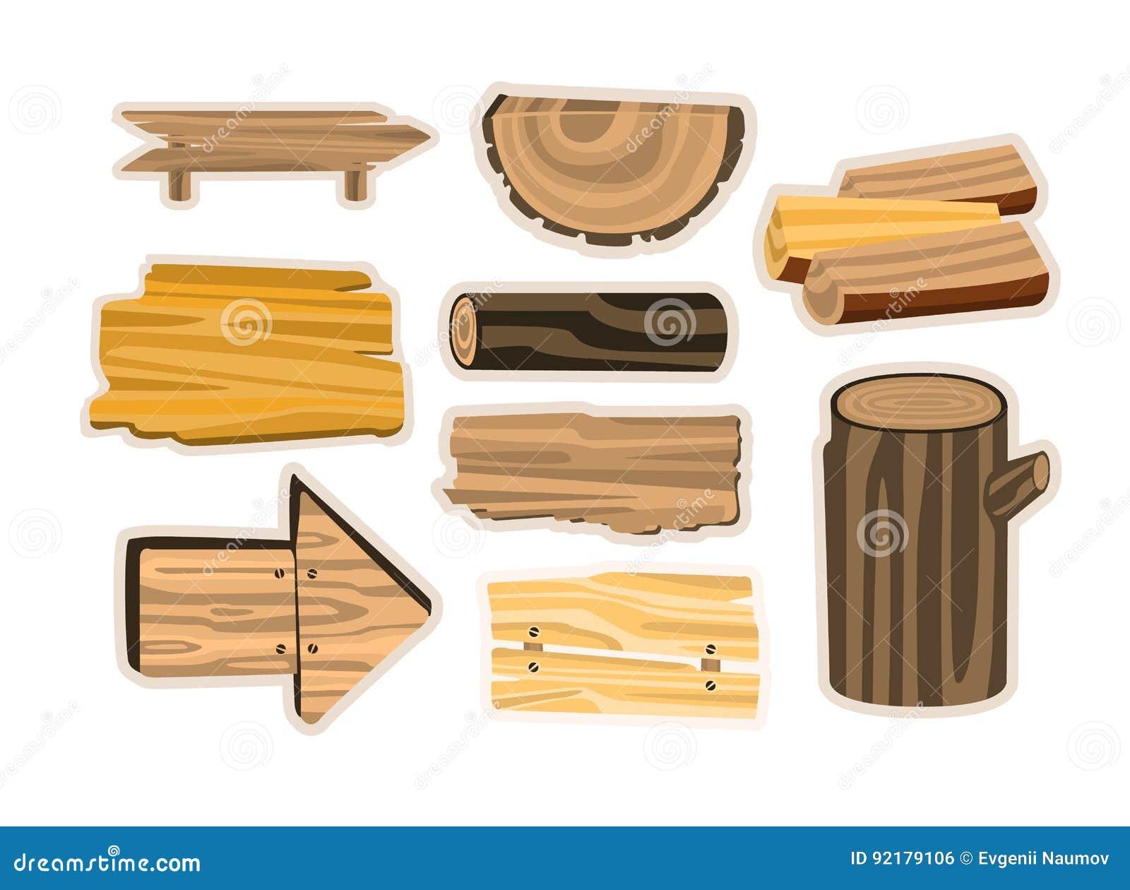 Комплект деревянного знака всходит на борт, планки, журналы Деревянные иллюстрации вектора материалов