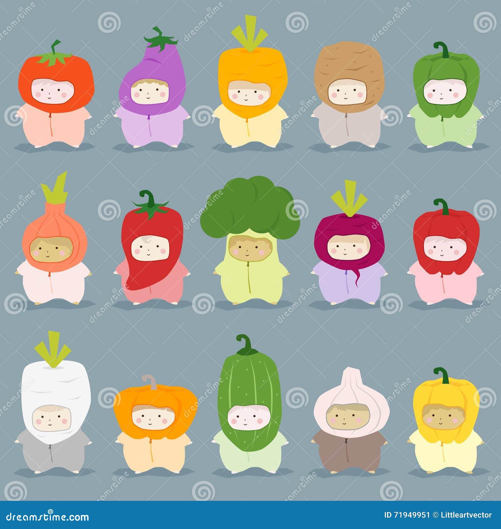 Комплект детей в милых vegetable костюмах