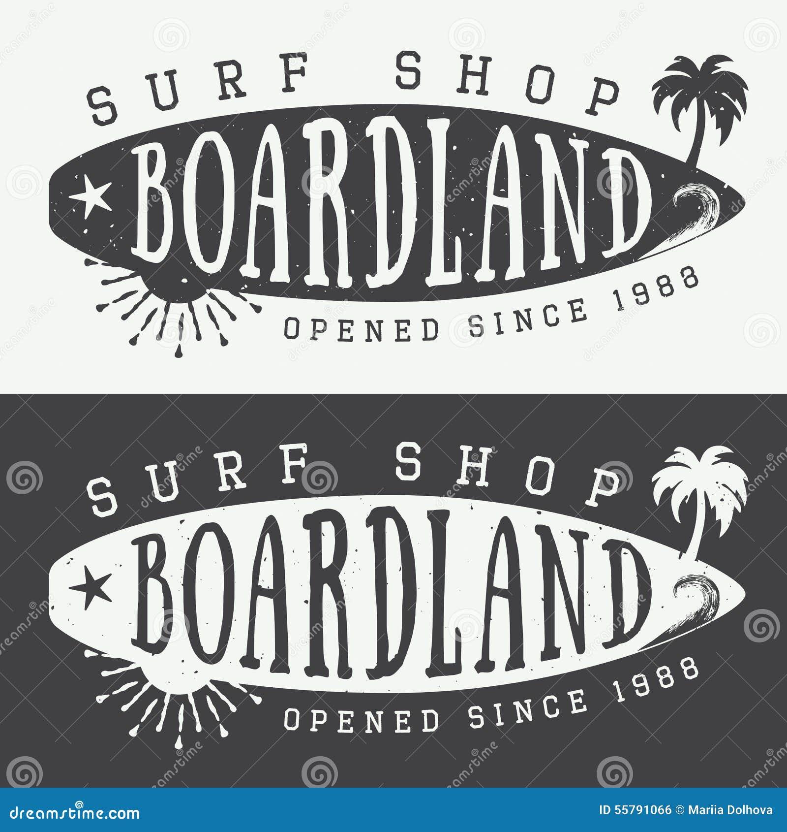 Комплект занимаясь серфингом логотипов, ярлыков, значков и элементов в винтажном стиле также вектор иллюстрации притяжки corel