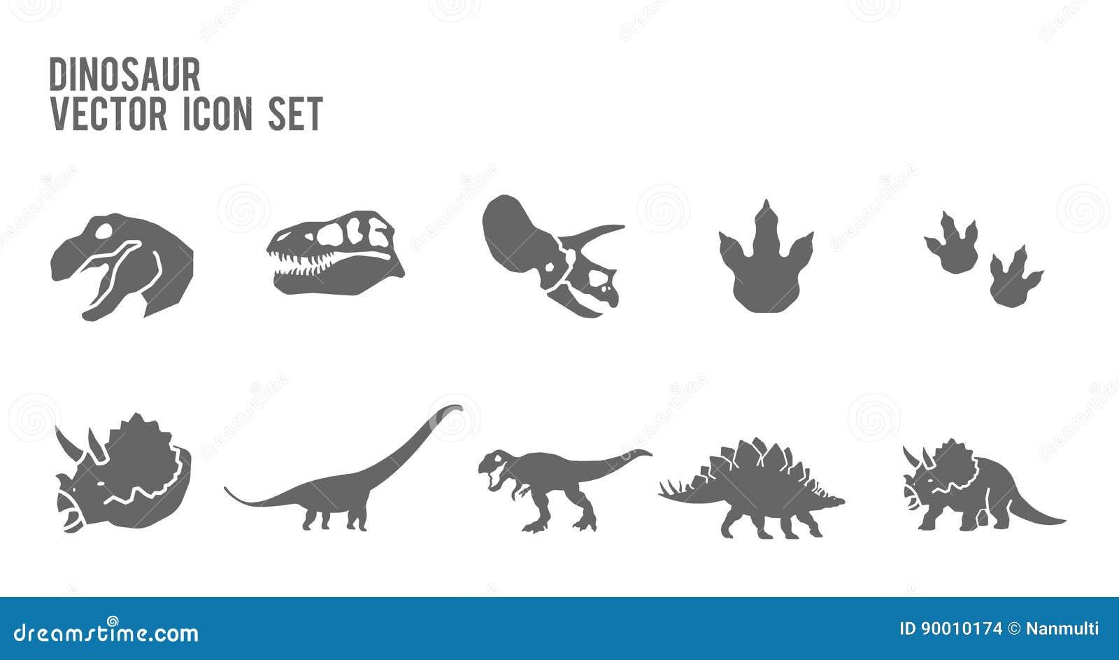 Комплект значка вектора динозавра каркасный ископаемый