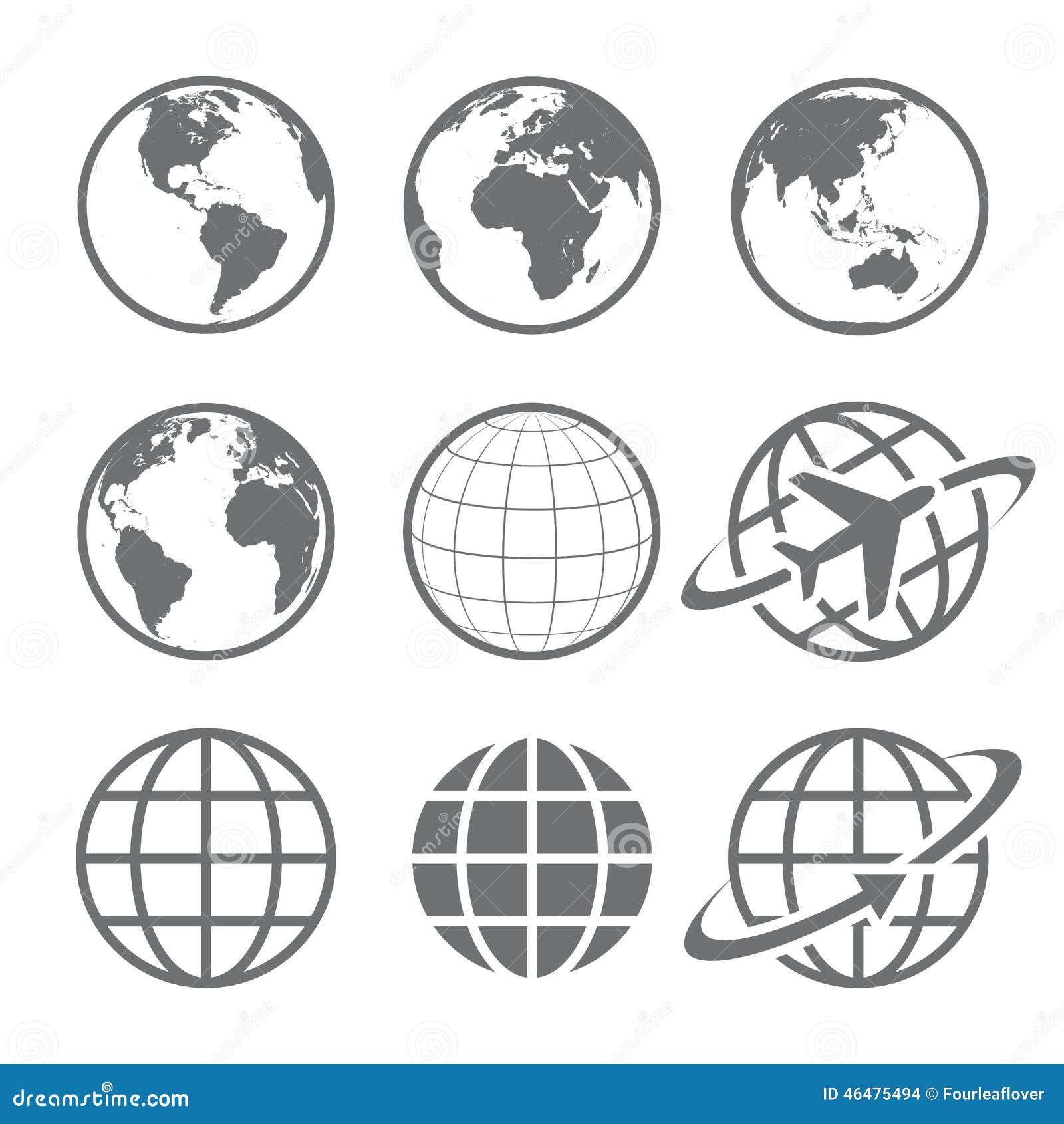 Комплект значка глобуса земли