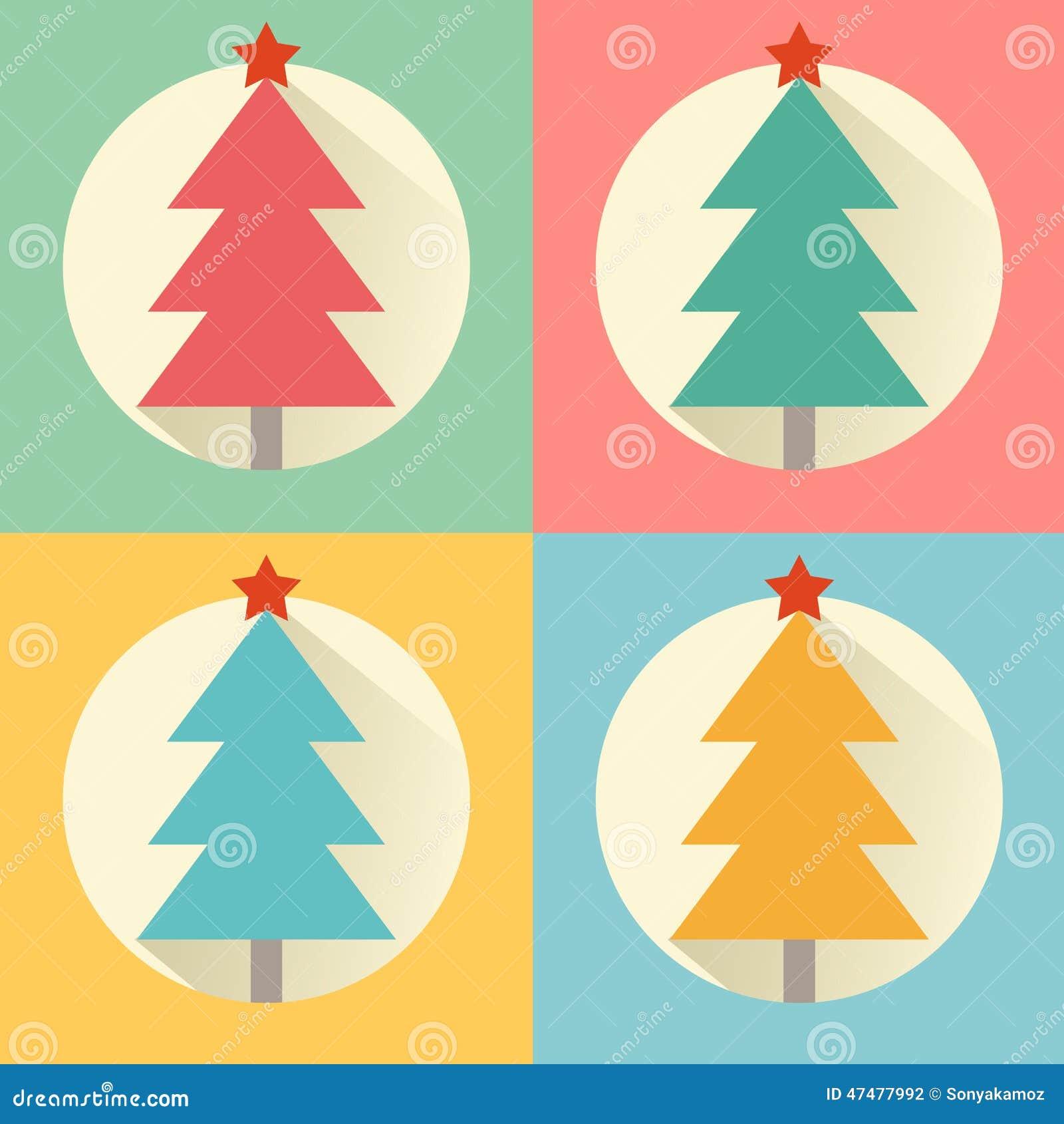 Комплект значка дизайна дерева рождества (Нового Года) плоский