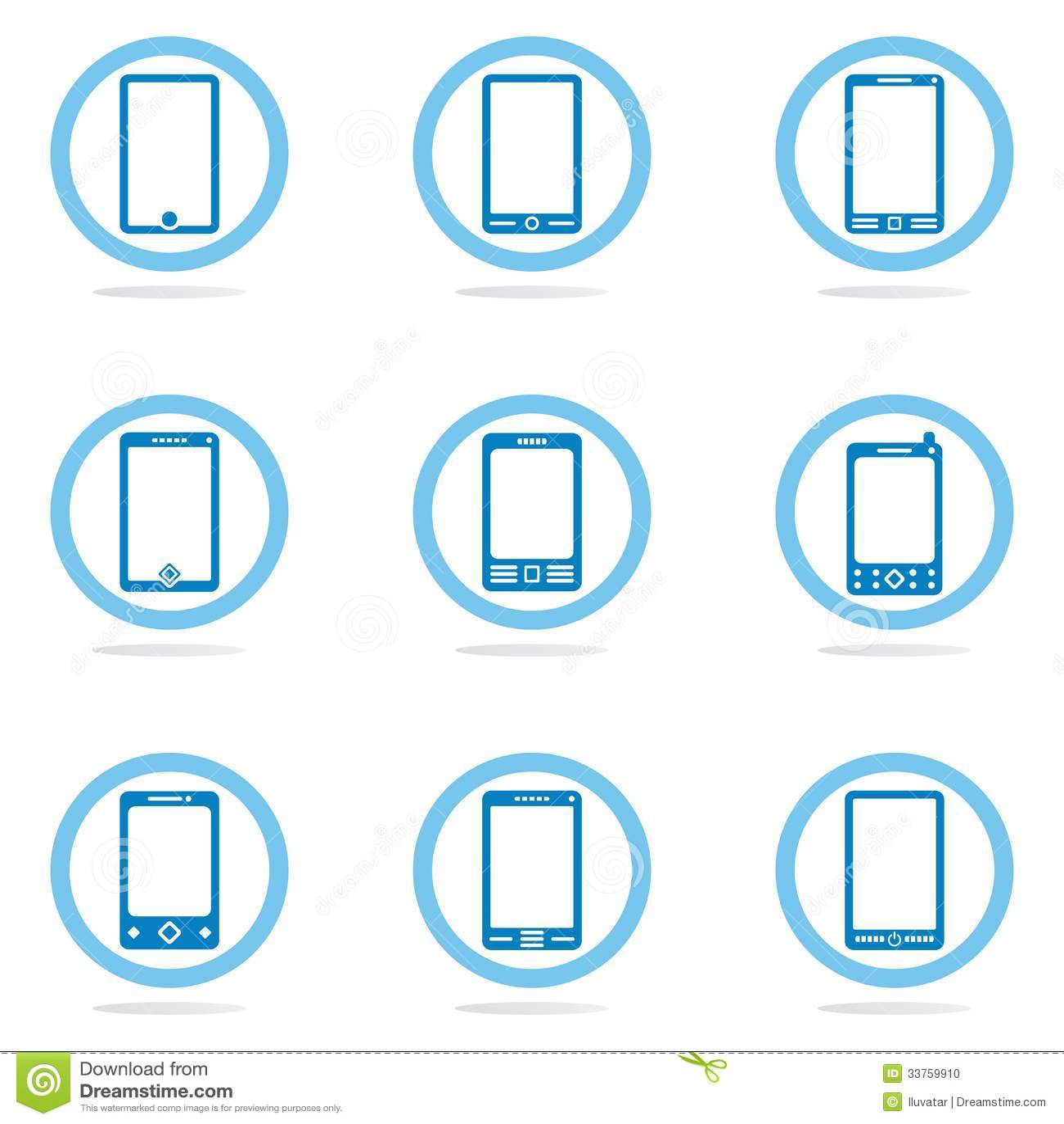 Комплект значка мобильного телефона