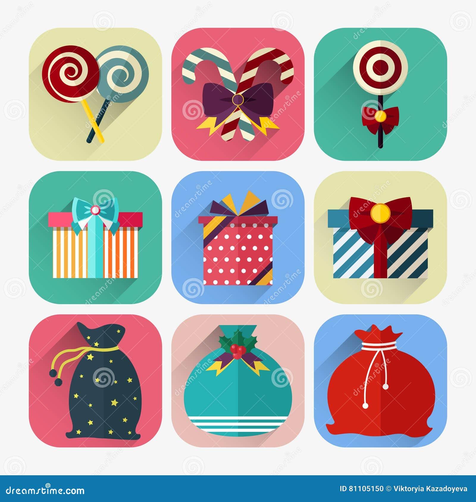 Комплект значка Нового Года плоский подарка рождества, сумки Санта Клауса и леденца на палочке