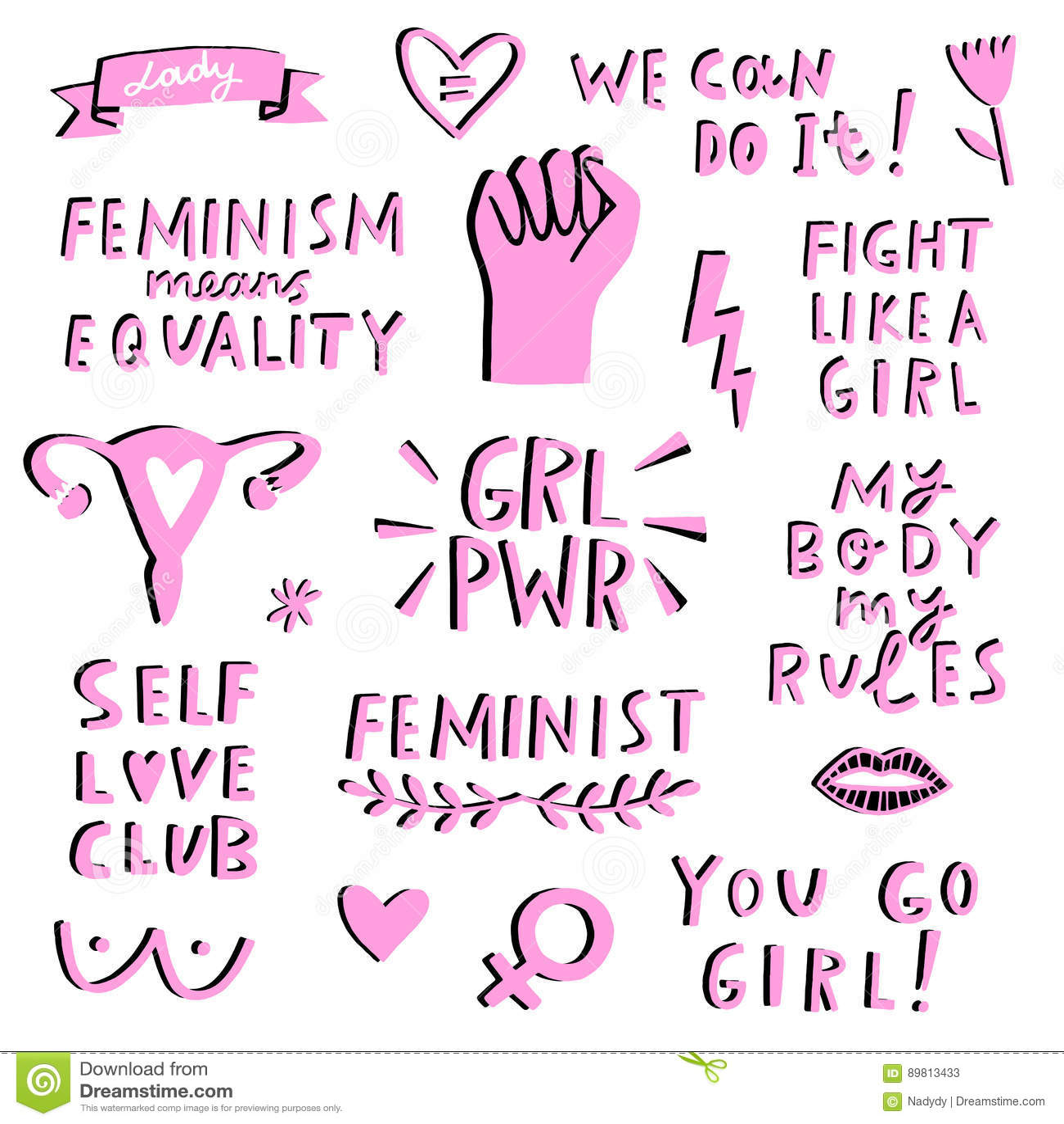 Комплект значка символов феминизма вектора Движение Femenist