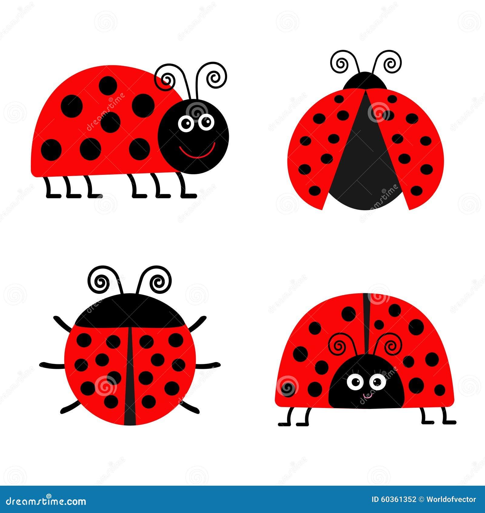 Комплект значка Ladybird Ladybug текст космоса экземпляра предпосылки младенца смешное насекомое Плоский изолированный дизайн