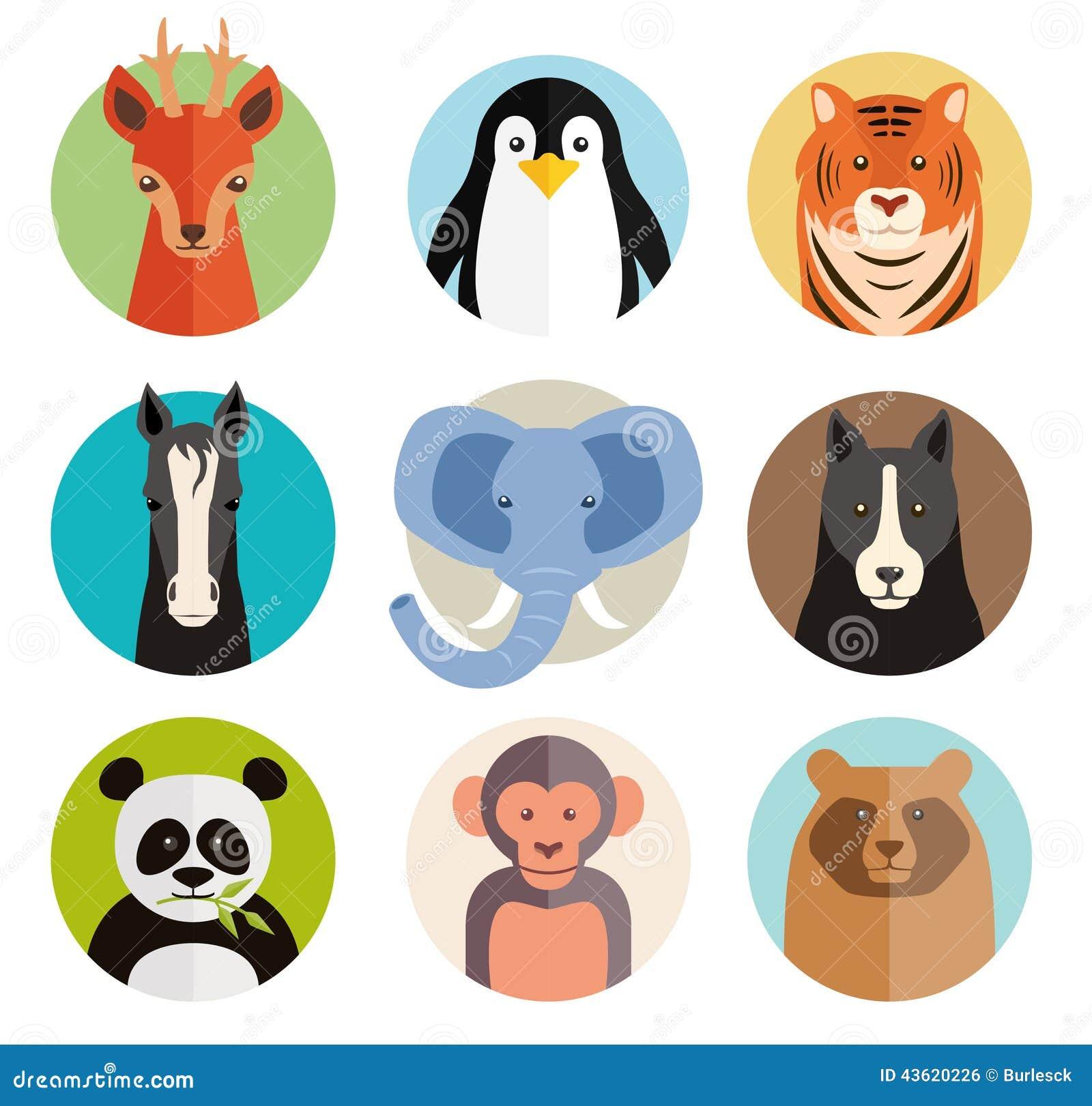Комплект значков вектора животных в круглых кнопках