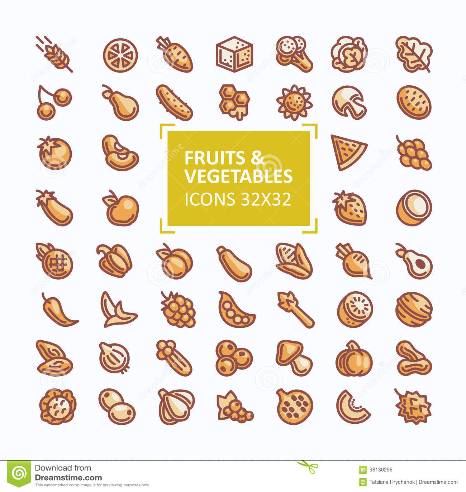Комплект значков вектора фруктов и овощей в стиле тонкой линии, editable хода